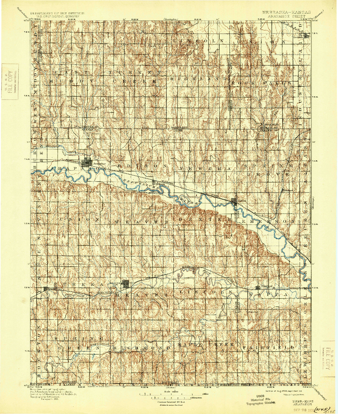 USGS 1:125000-SCALE QUADRANGLE FOR ARAPAHOE, NE 1898