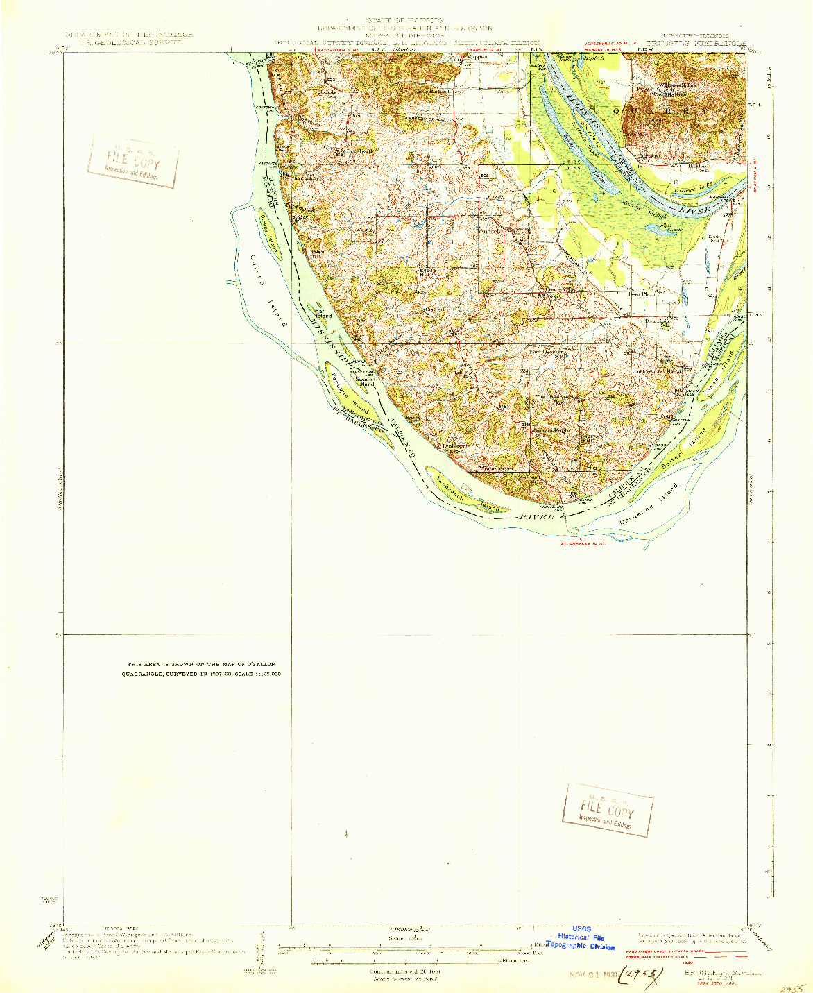 USGS 1:62500-SCALE QUADRANGLE FOR BRUSSELS, MO 1931