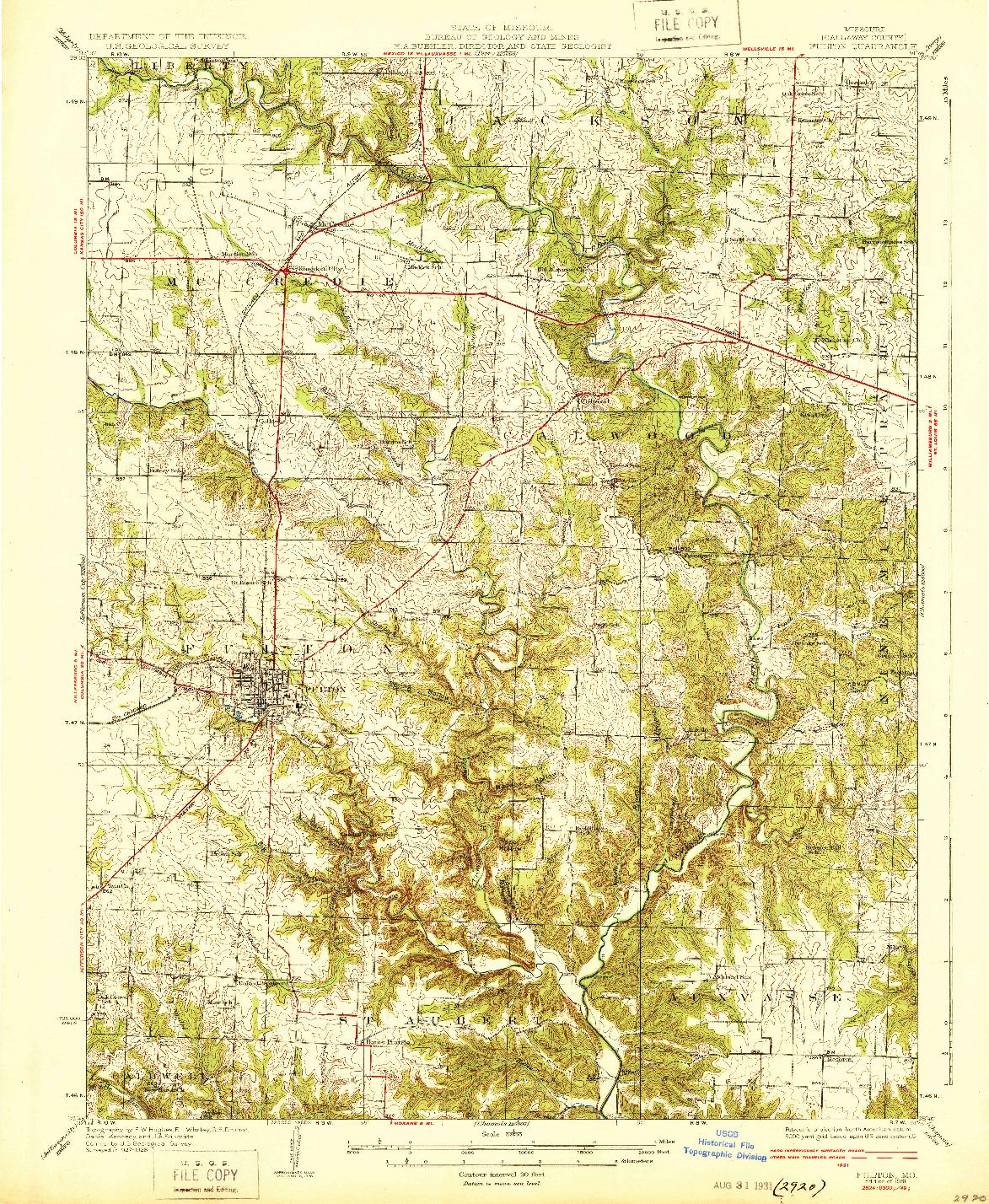USGS 1:62500-SCALE QUADRANGLE FOR FULTON, MO 1931