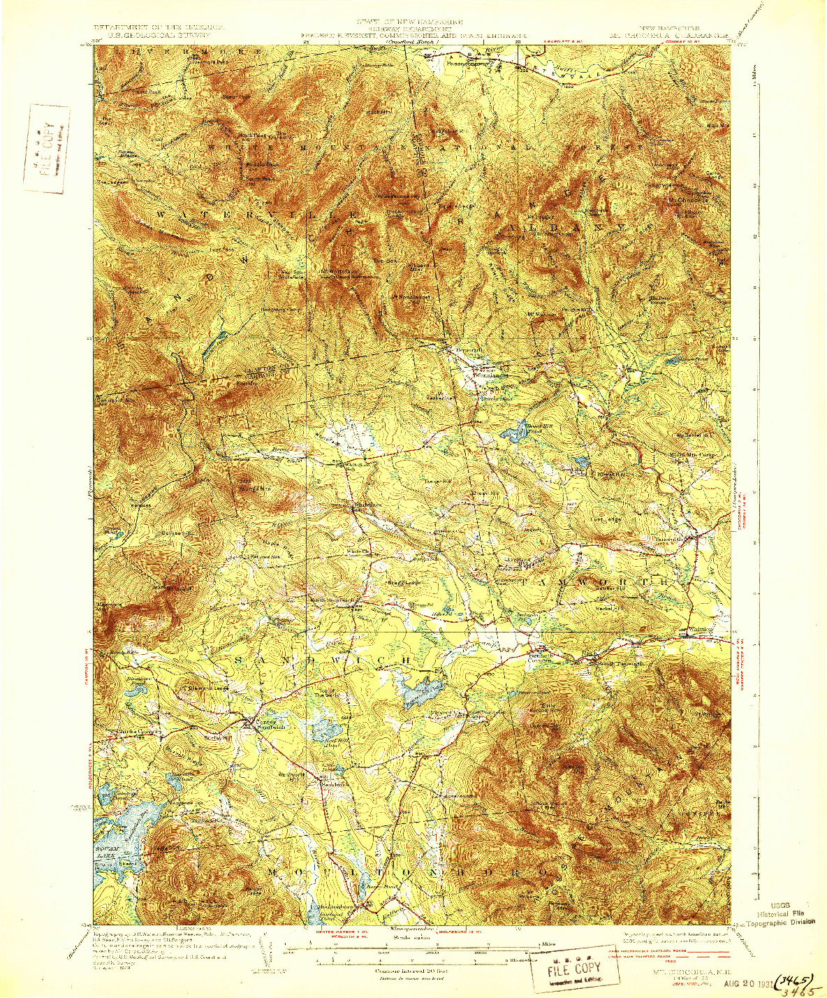 USGS 1:62500-SCALE QUADRANGLE FOR MT. CHOCORUA, NH 1931
