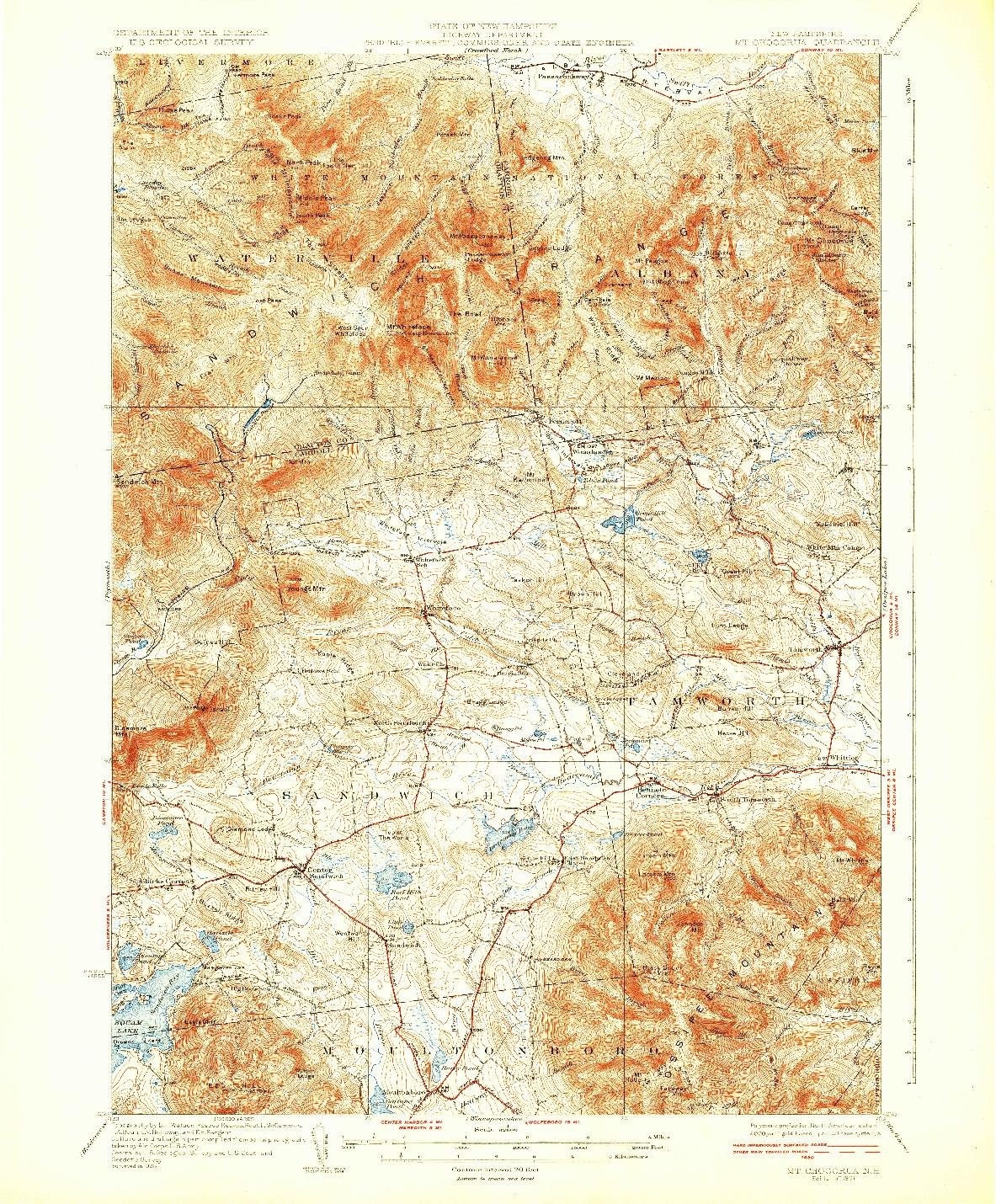 USGS 1:62500-SCALE QUADRANGLE FOR MT. CHOCORUA, NH 1931