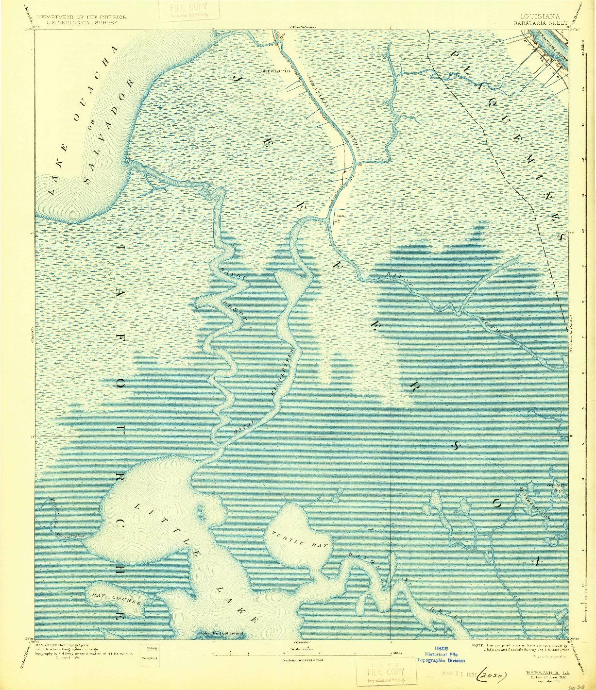 USGS 1:62500-SCALE QUADRANGLE FOR BARATARIA, LA 1892