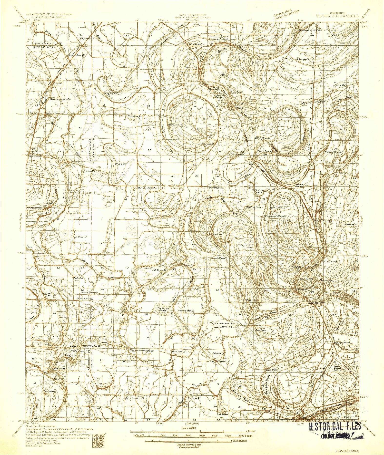 USGS 1:48000-SCALE QUADRANGLE FOR SUMNER, MS 1931