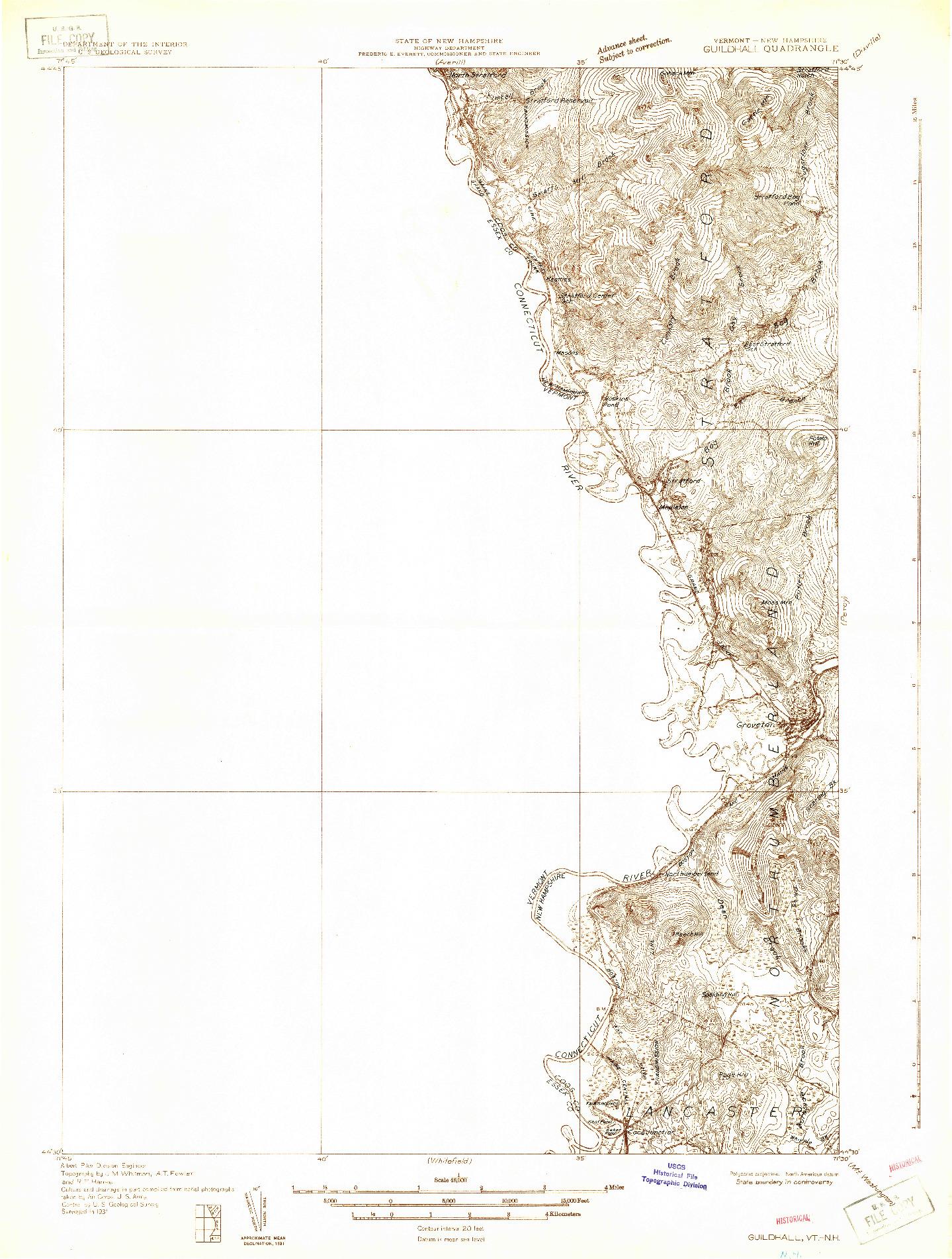 USGS 1:48000-SCALE QUADRANGLE FOR GUILDHALL, VT 1931