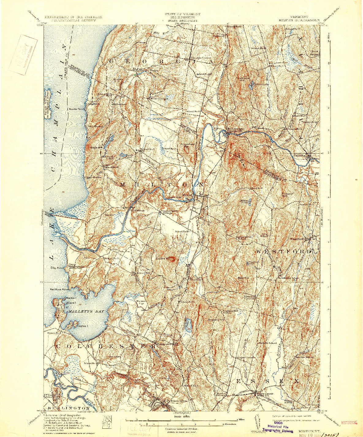 USGS 1:62500-SCALE QUADRANGLE FOR MILTON, VT 1915