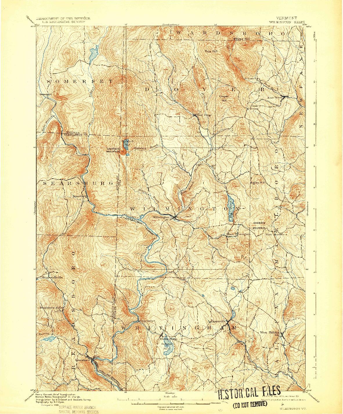 USGS 1:62500-SCALE QUADRANGLE FOR WILMINGTON, VT 1899