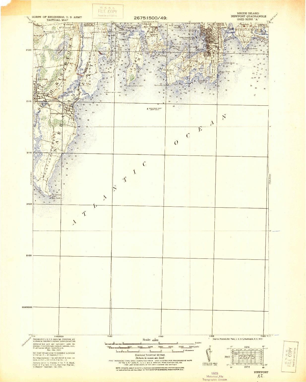 USGS 1:62500-SCALE QUADRANGLE FOR NEWPORT, RI 1931