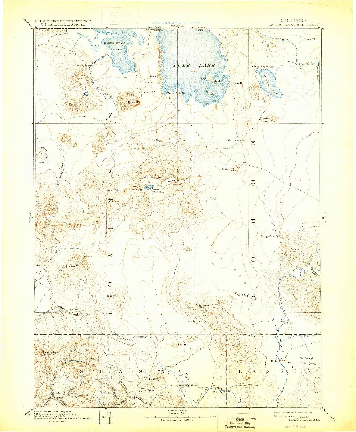 USGS 1:250000-SCALE QUADRANGLE FOR MODOC LAVA BED, CA 1892