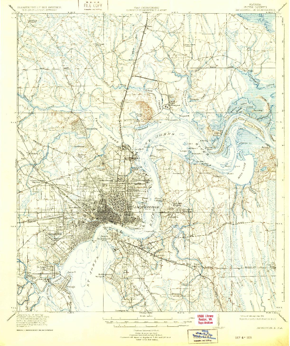 USGS 1:62500-SCALE QUADRANGLE FOR JACKSONVILLE, FL 1918