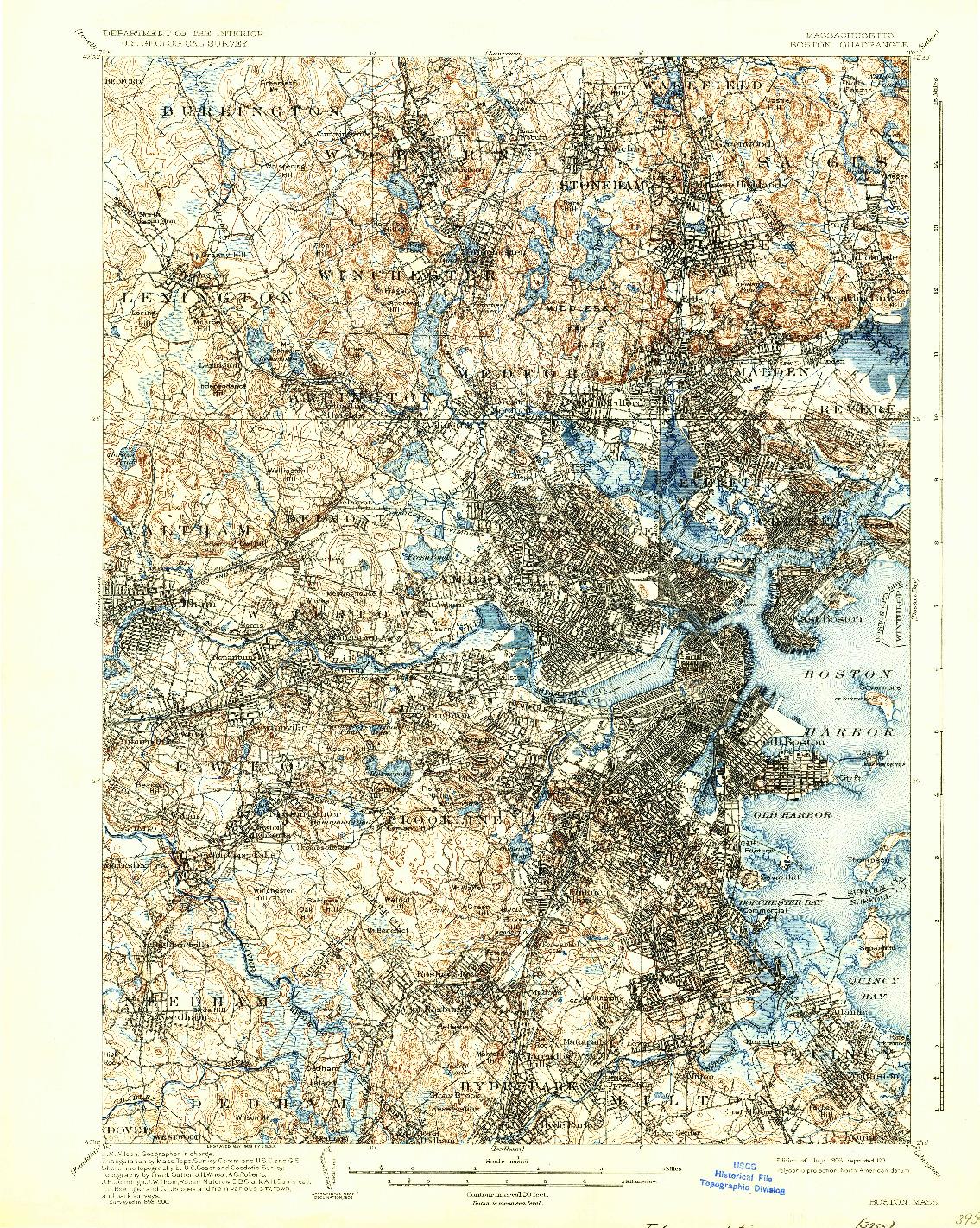 USGS 1:62500-SCALE QUADRANGLE FOR BOSTON, MA 1903