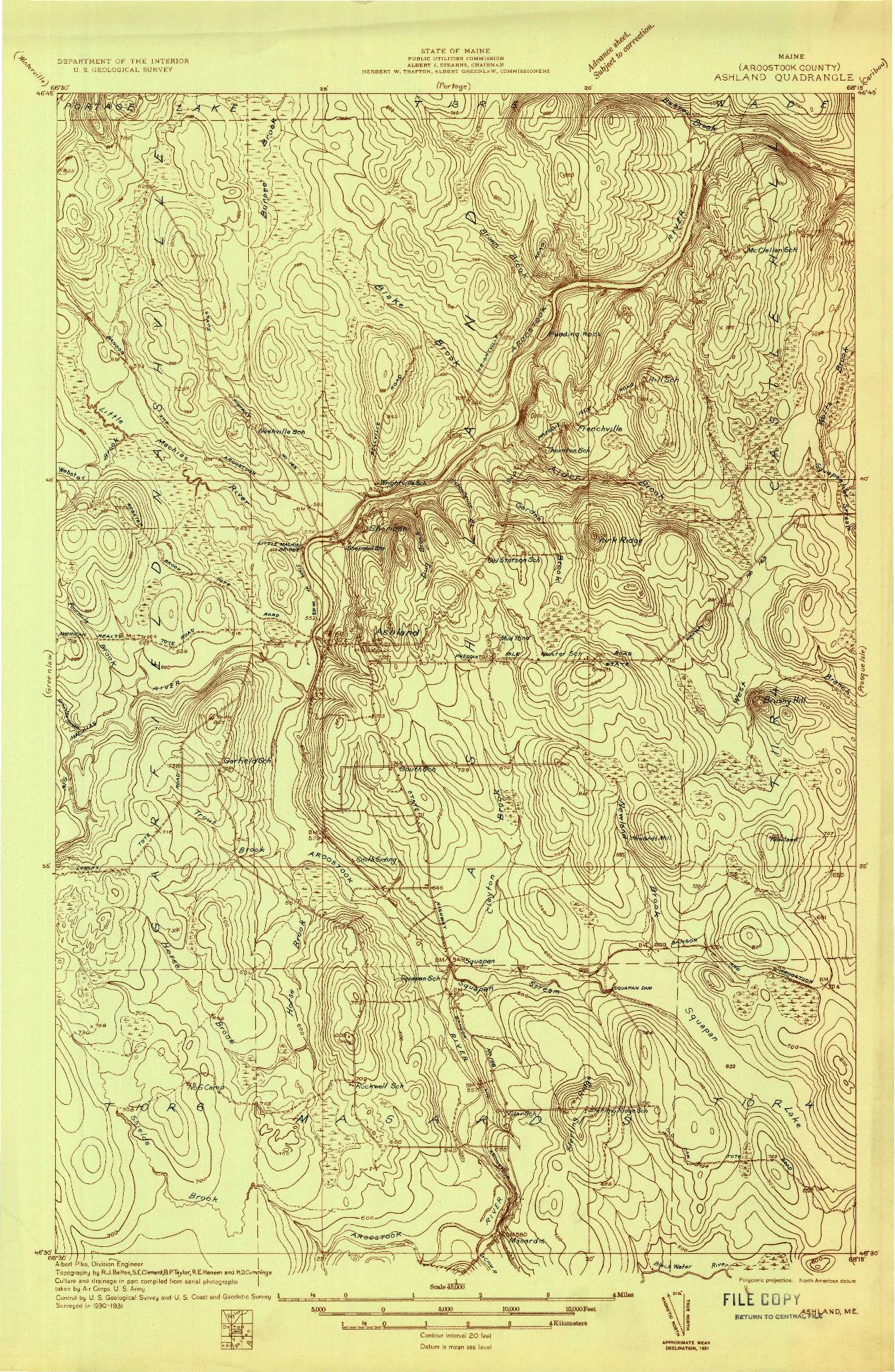 USGS 1:48000-SCALE QUADRANGLE FOR ASHLAND, ME 1931