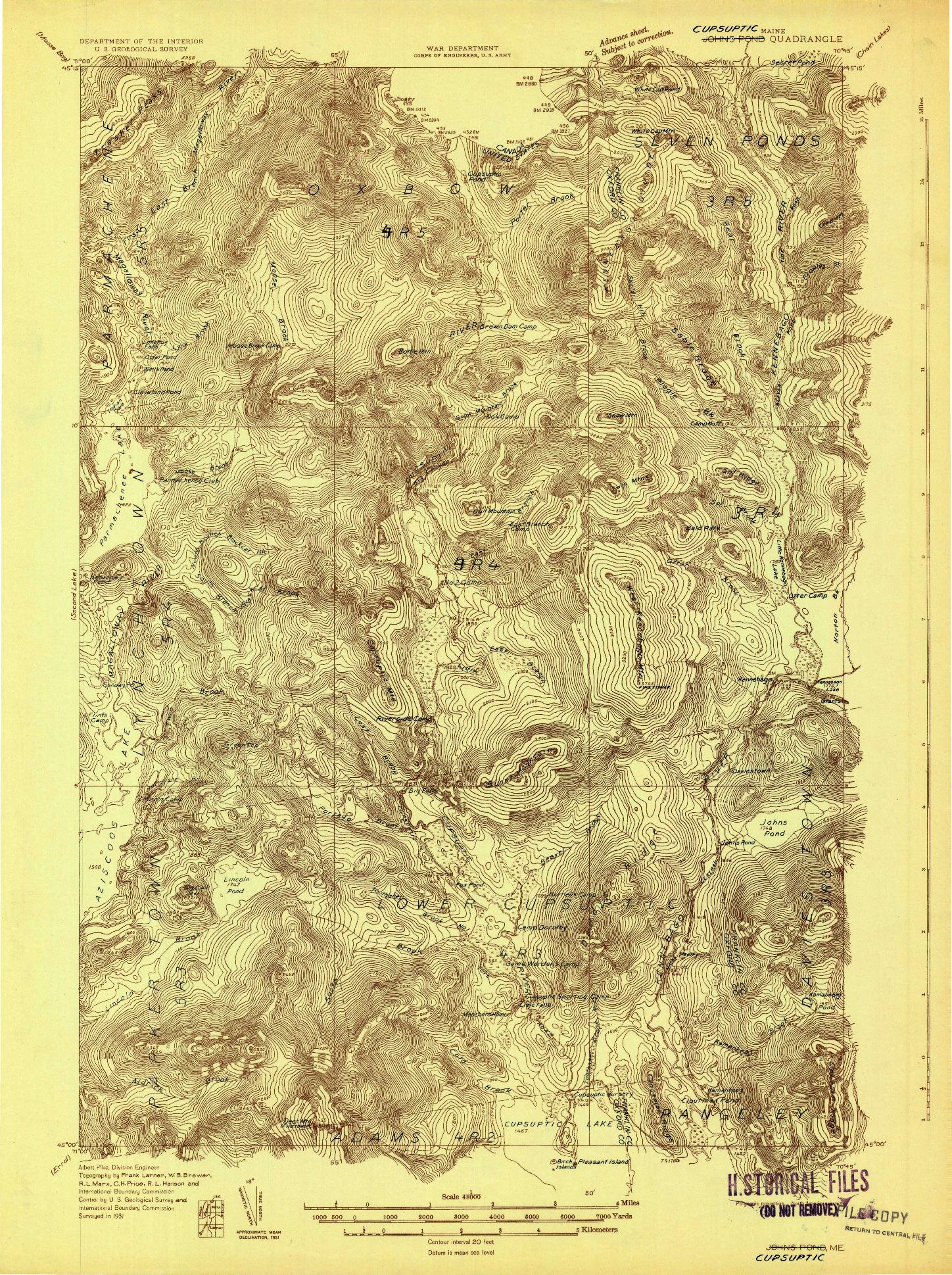 USGS 1:48000-SCALE QUADRANGLE FOR CUPSUPTIC, ME 1931