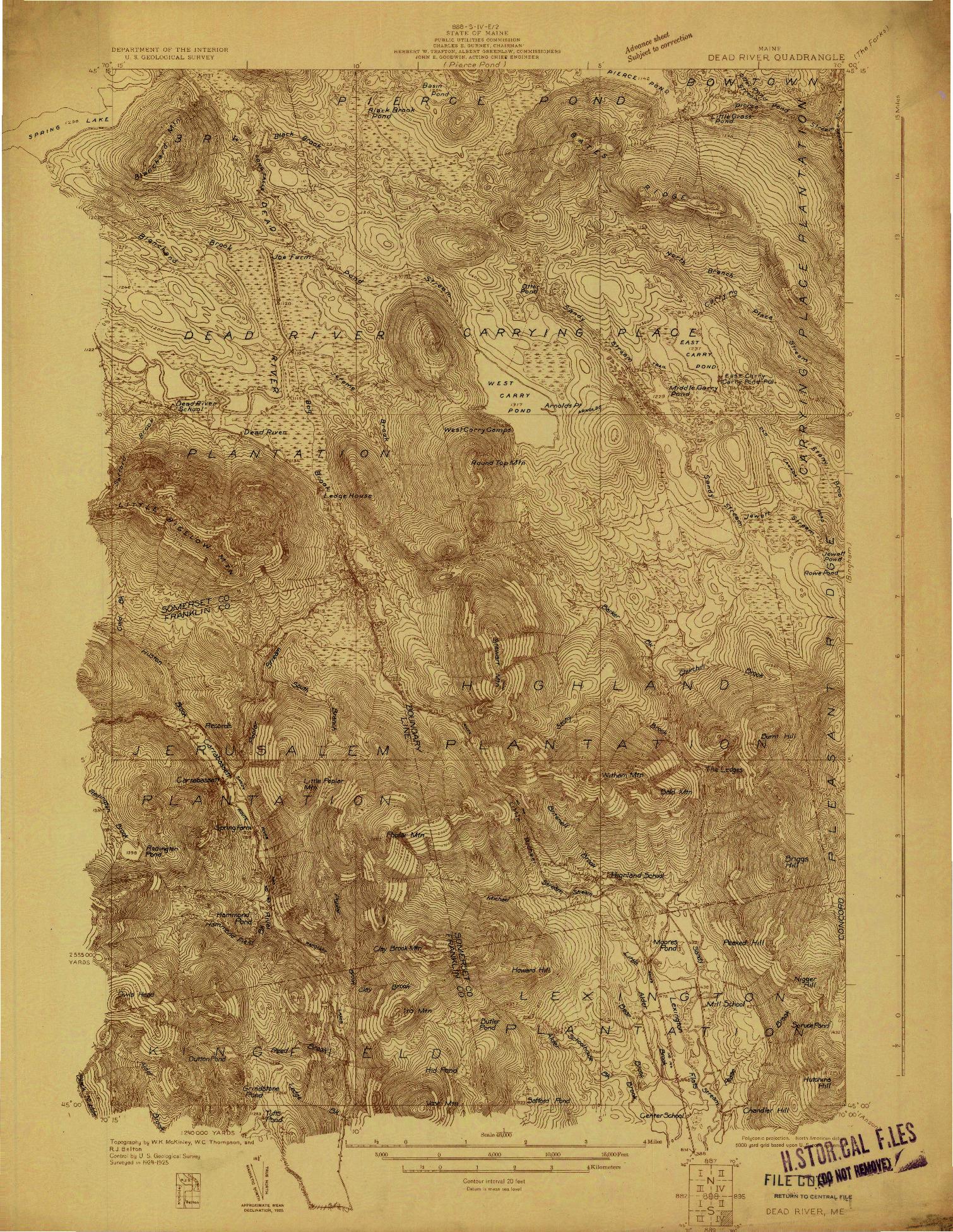 USGS 1:48000-SCALE QUADRANGLE FOR DEAD RIVER, ME 1931