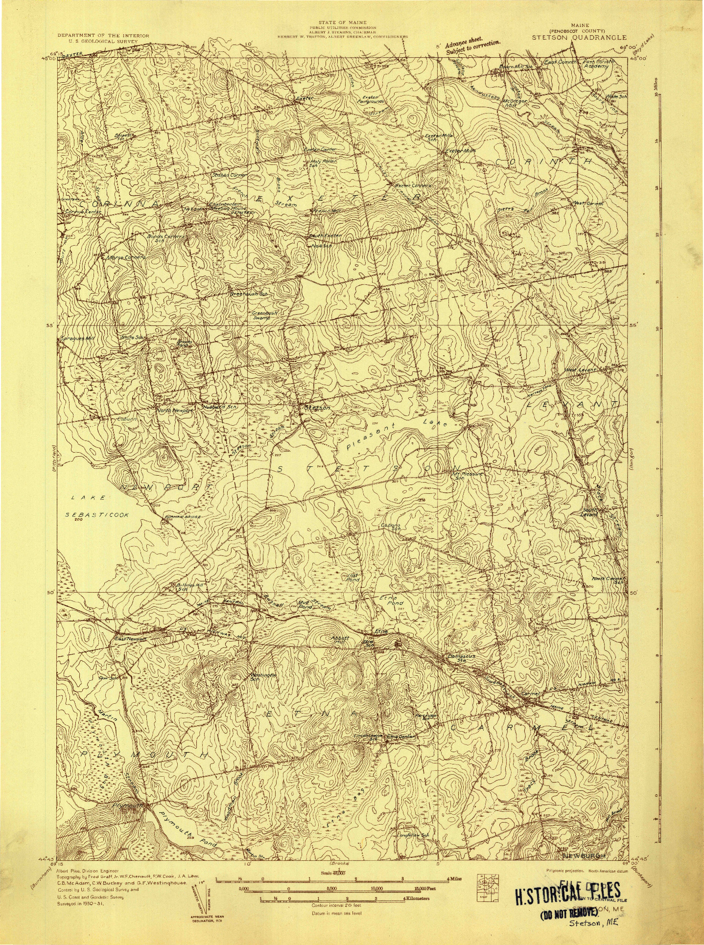 USGS 1:48000-SCALE QUADRANGLE FOR STETSON, ME 1931