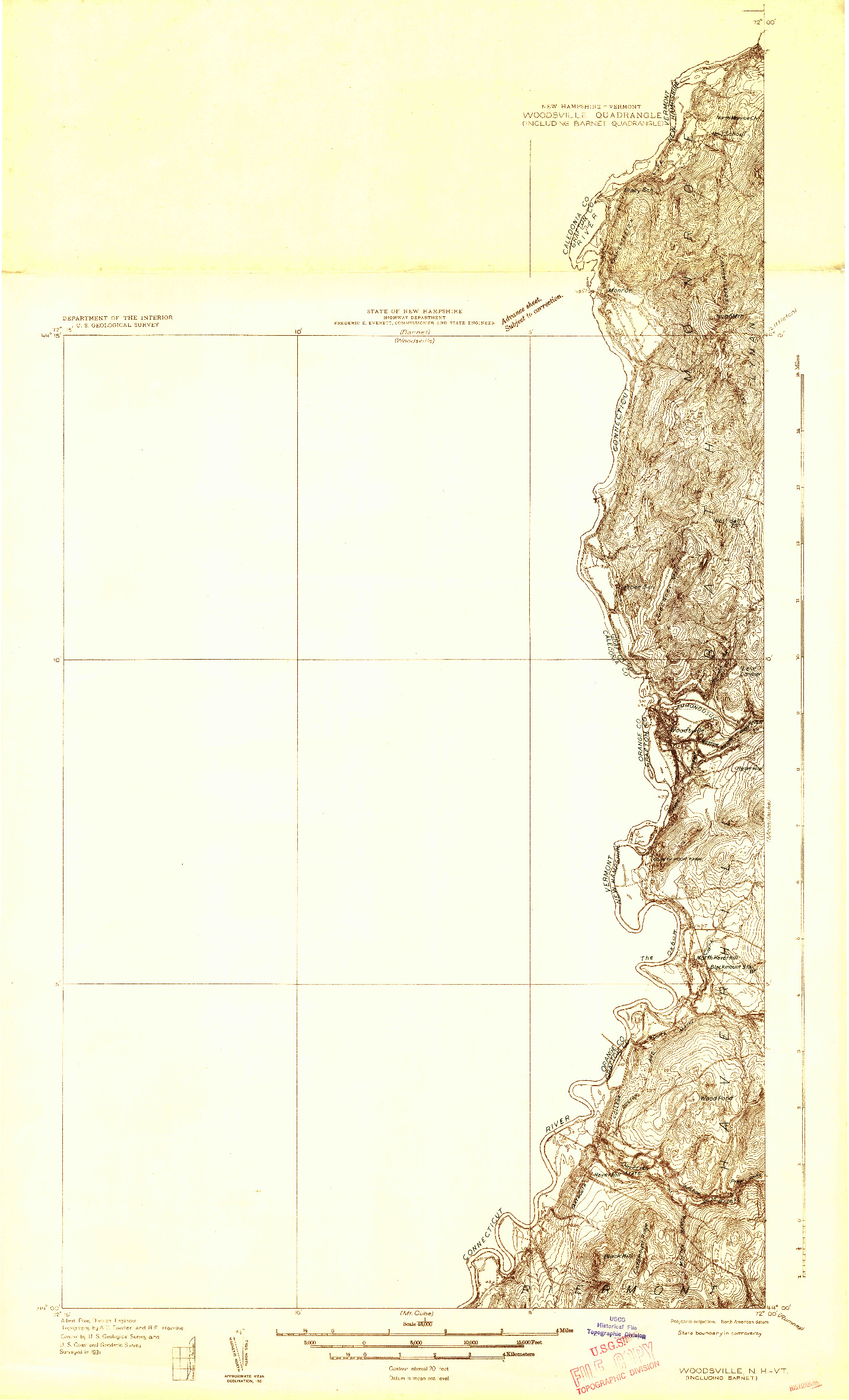 USGS 1:48000-SCALE QUADRANGLE FOR WOODSVILLE, NH 1931