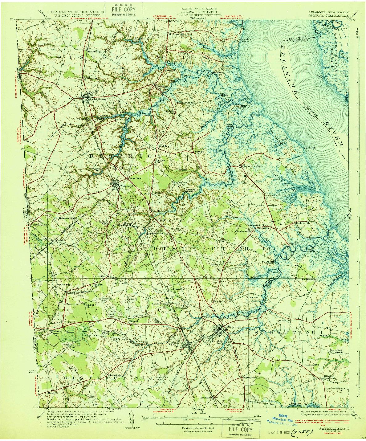 USGS 1:62500-SCALE QUADRANGLE FOR SMYRNA, DE 1931