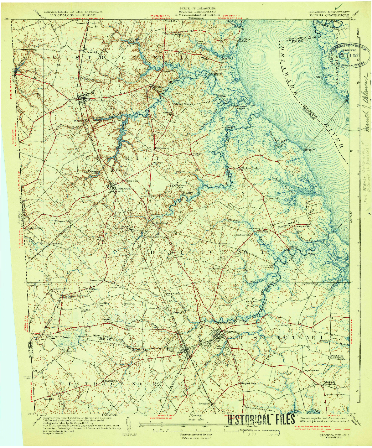 USGS 1:62500-SCALE QUADRANGLE FOR SMYRNA, DE 1931