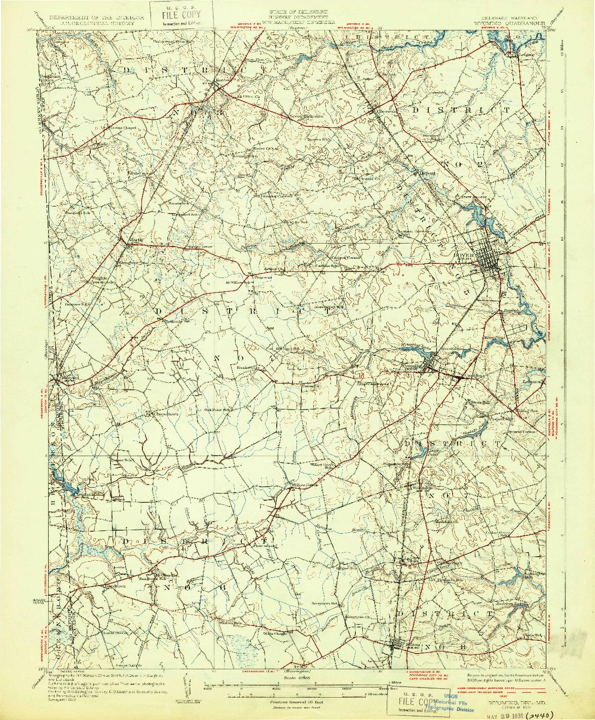 USGS 1:62500-SCALE QUADRANGLE FOR WYOMING, DE 1931