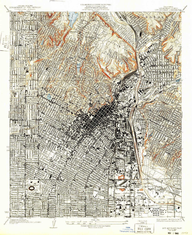 USGS 1:24000-SCALE QUADRANGLE FOR LOS ANGELES, CA 1928