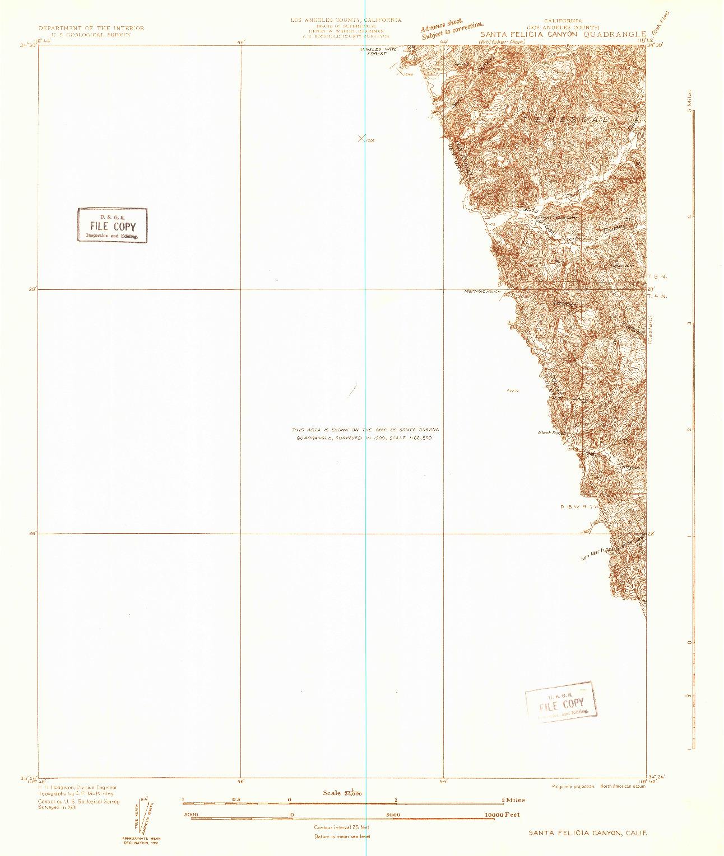 USGS 1:24000-SCALE QUADRANGLE FOR SANTA FELICIA CANYON, CA 1931