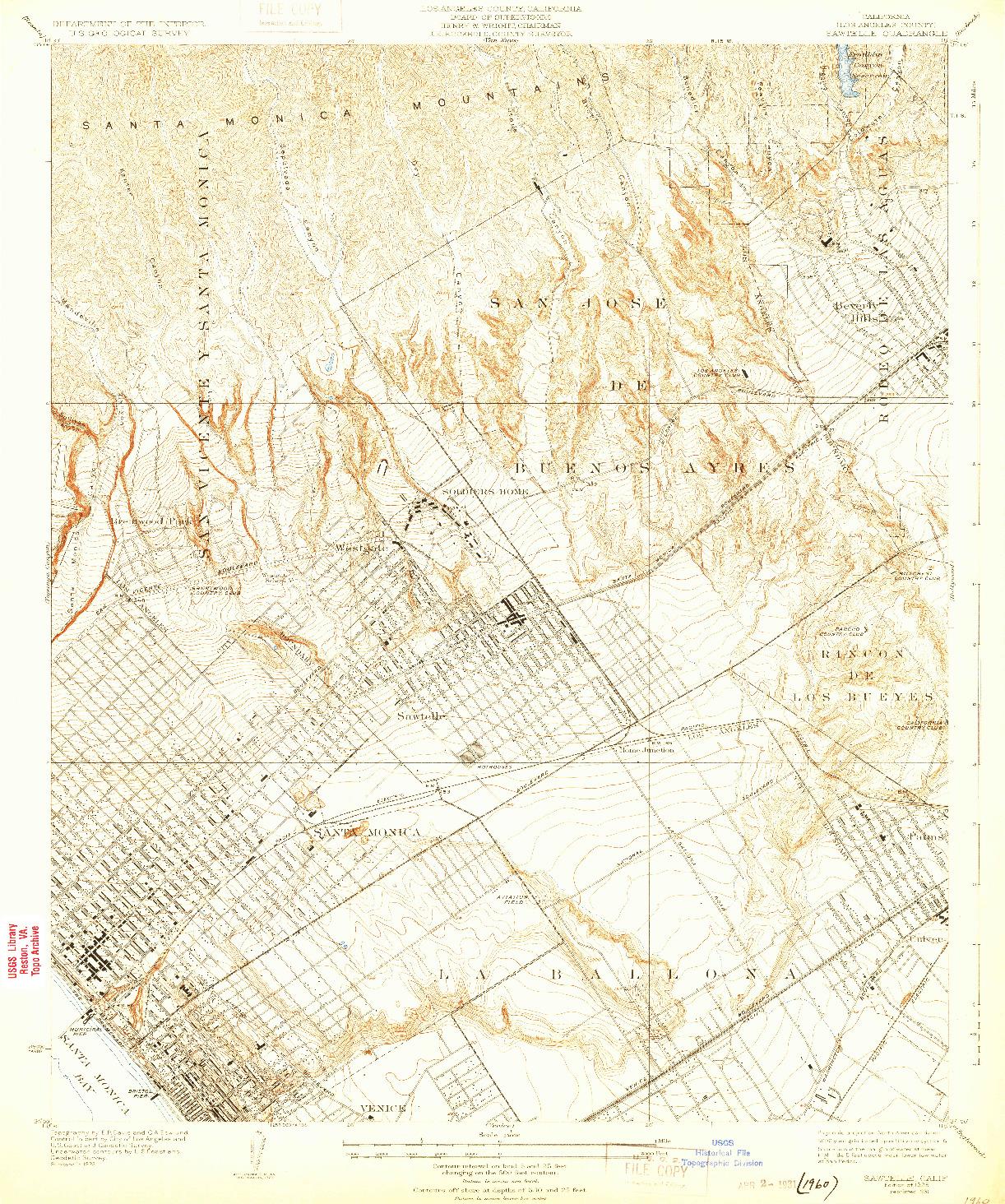 USGS 1:24000-SCALE QUADRANGLE FOR SAWTELLE, CA 1925