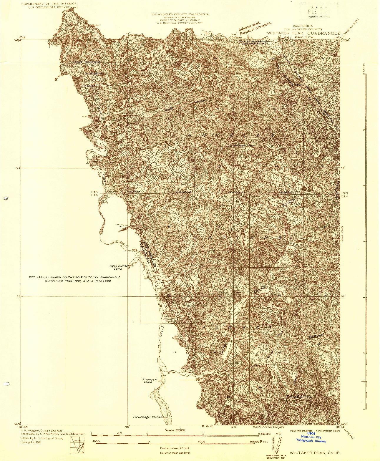 USGS 1:24000-SCALE QUADRANGLE FOR WHITAKER PEAK, CA 1931