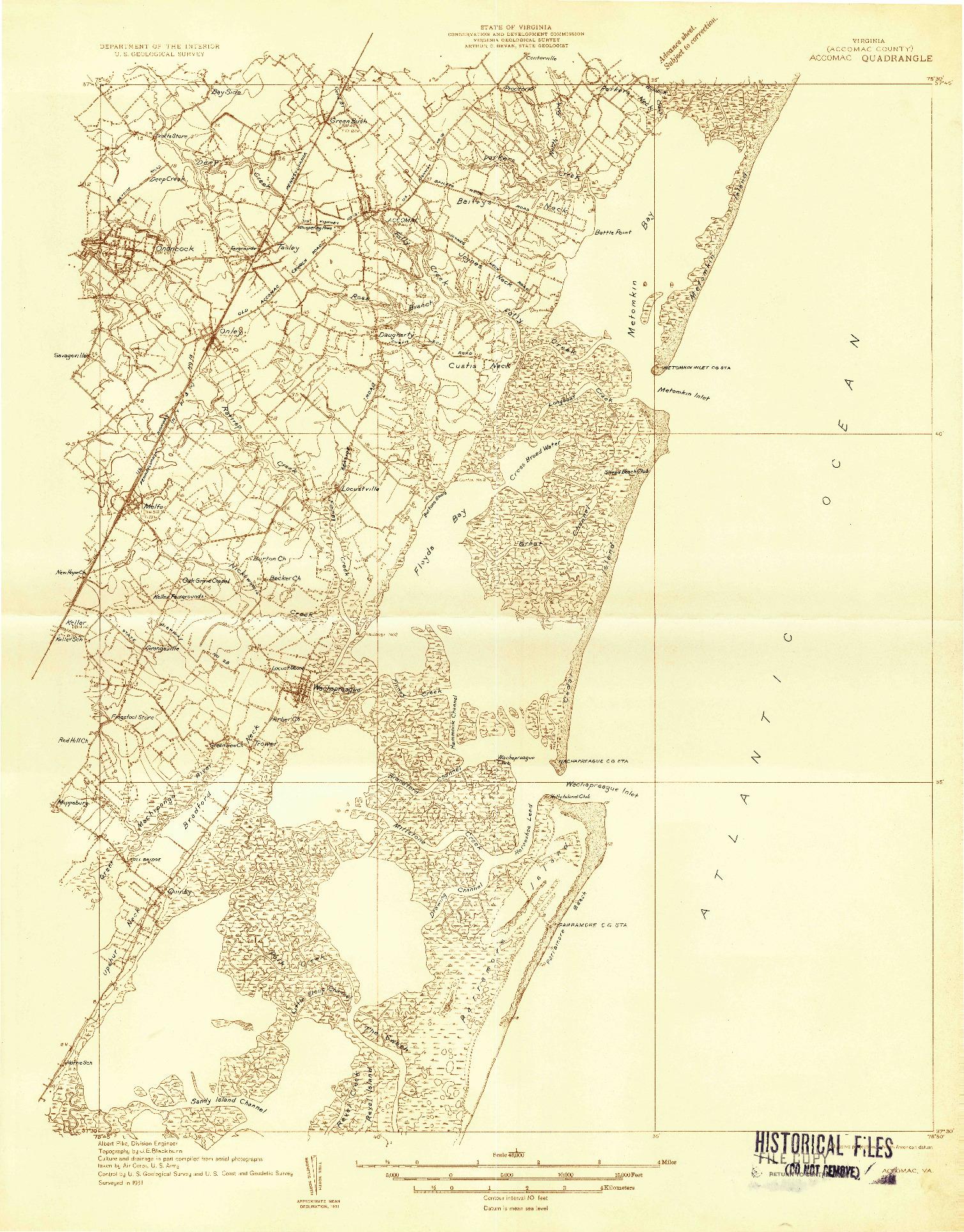 USGS 1:48000-SCALE QUADRANGLE FOR ACCOMAC, VA 1931