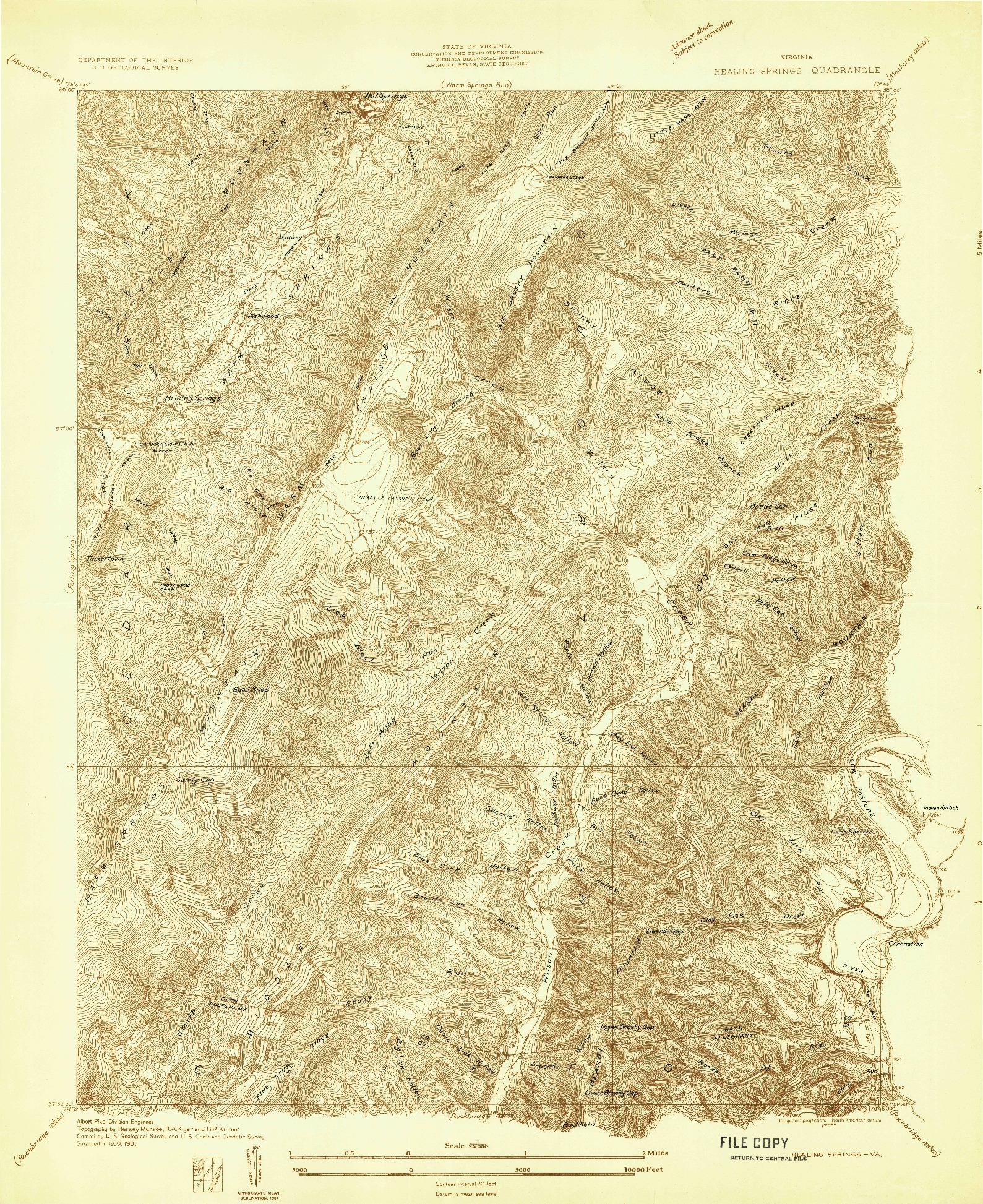 USGS 1:24000-SCALE QUADRANGLE FOR HEALING SPRINGS, VA 1931