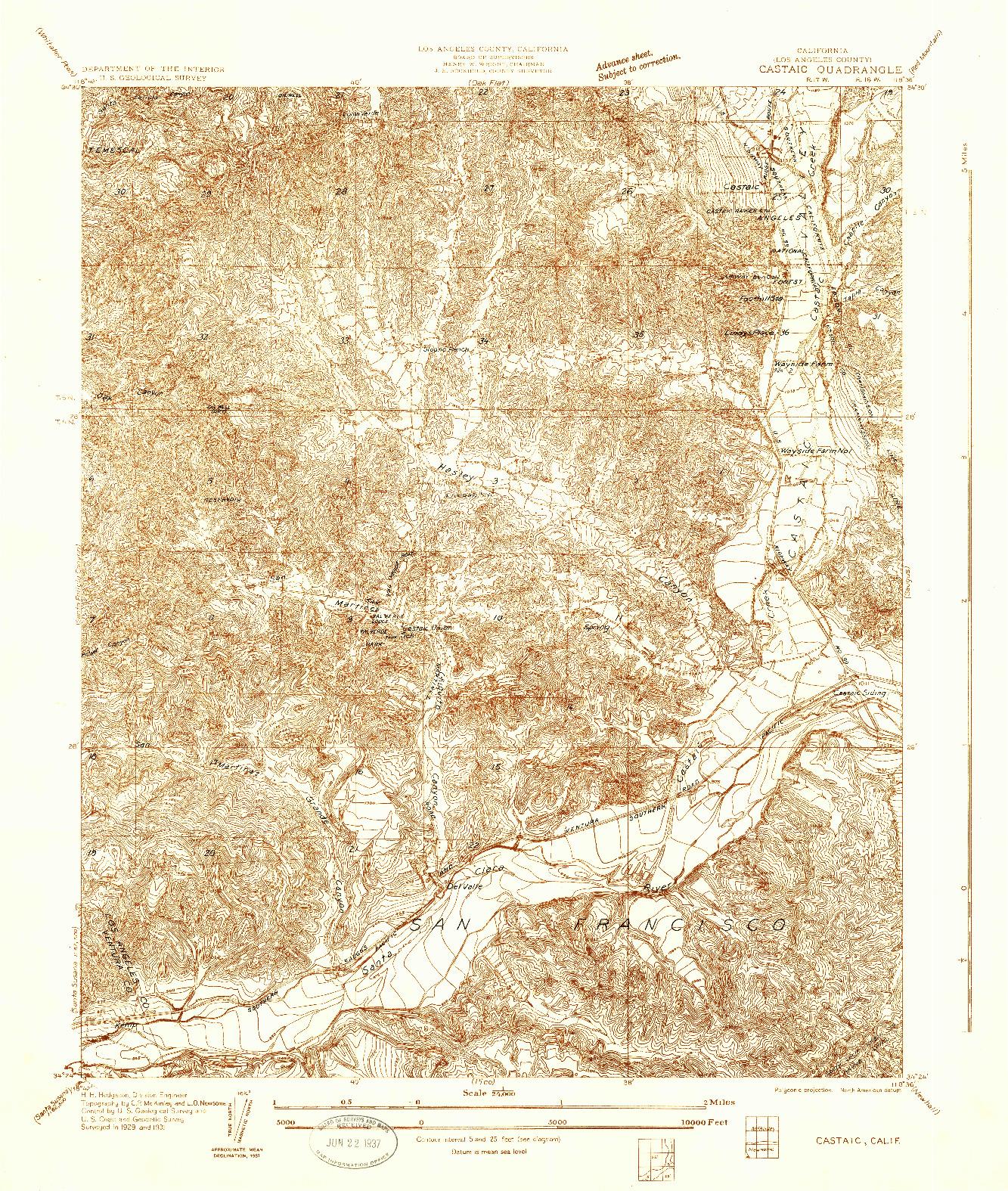 USGS 1:24000-SCALE QUADRANGLE FOR CASTAIC, CA 1931