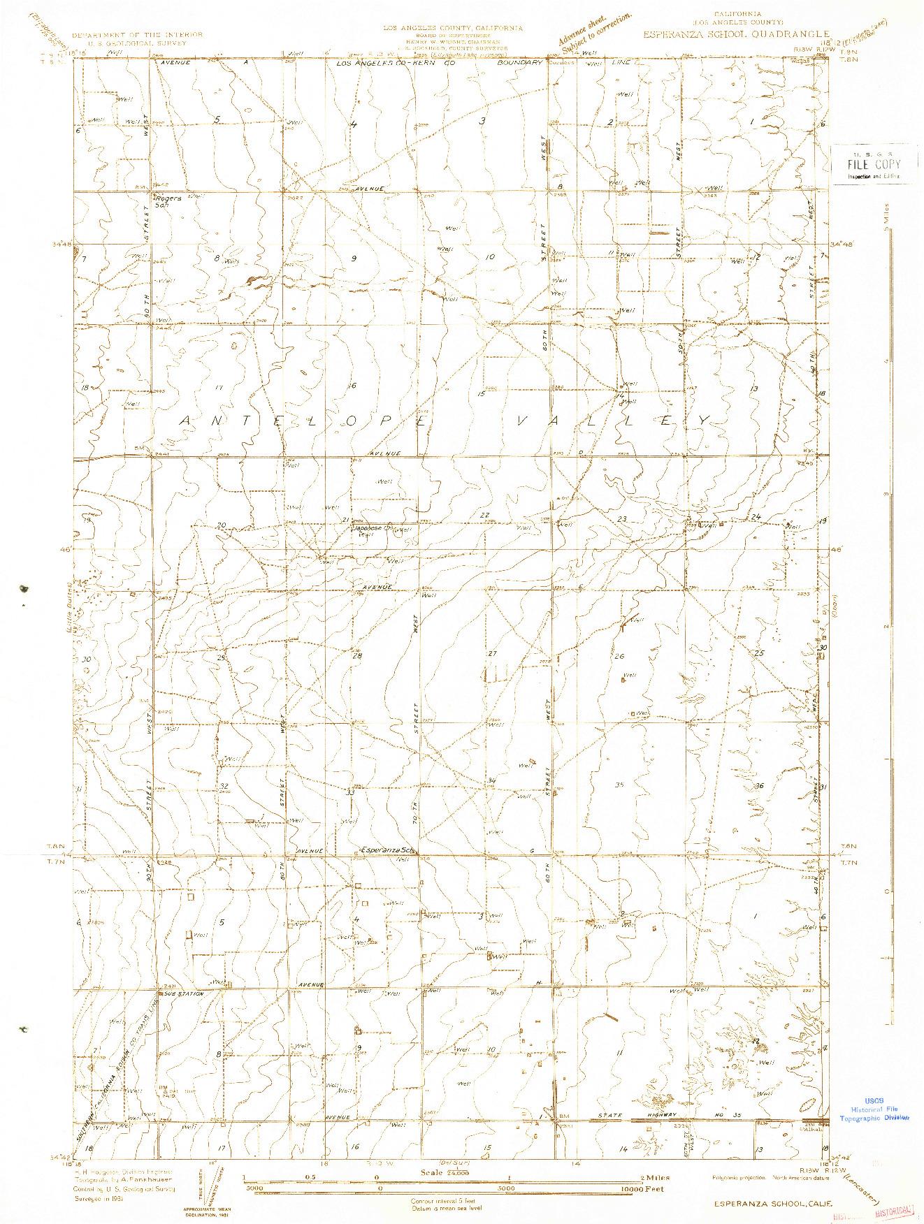 USGS 1:24000-SCALE QUADRANGLE FOR ESPERANZA SCHOOL, CA 1931