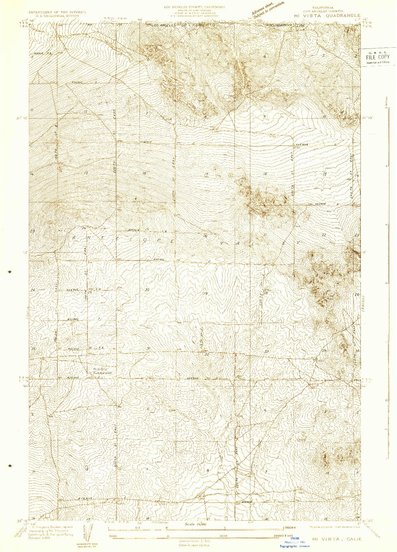 USGS 1:24000-SCALE QUADRANGLE FOR HI VISTA, CA 1931
