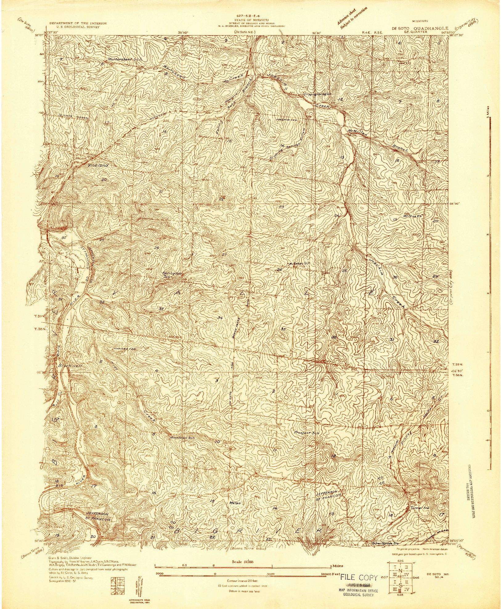 USGS 1:24000-SCALE QUADRANGLE FOR DE SOTO SE, MO 1931