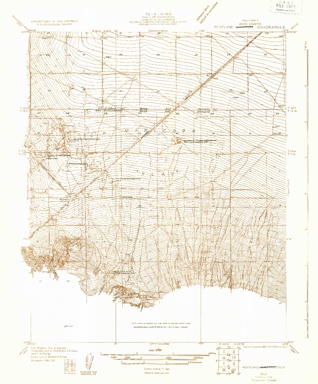 USGS 1:31680-SCALE QUADRANGLE FOR PENTLAND JUNCTION, CA 1931