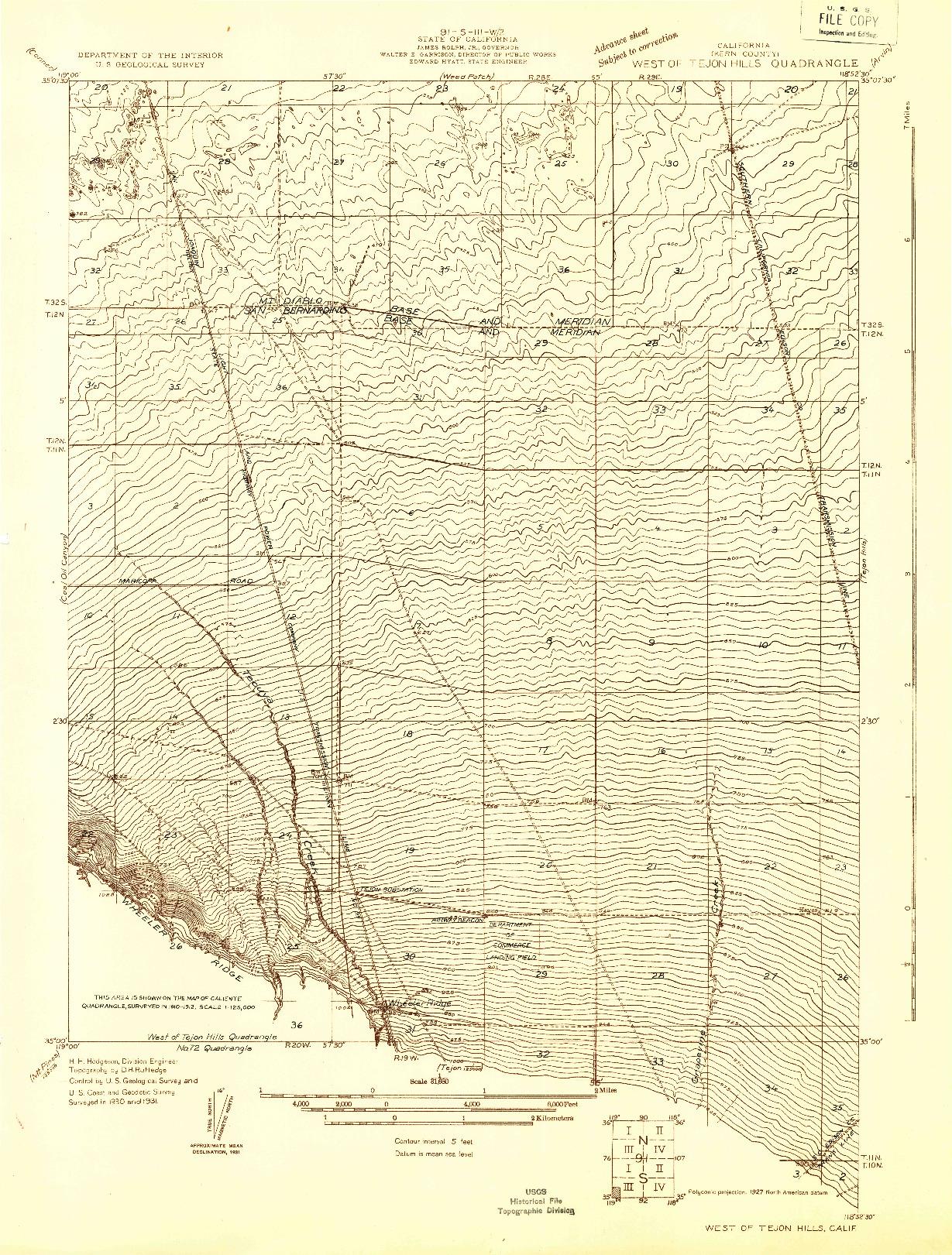 USGS 1:31680-SCALE QUADRANGLE FOR WEST OF TEJON HILLS, CA 1931