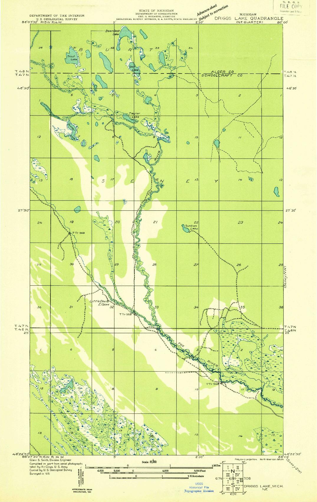USGS 1:31680-SCALE QUADRANGLE FOR DRIGGS LAKE NE, MI 1931