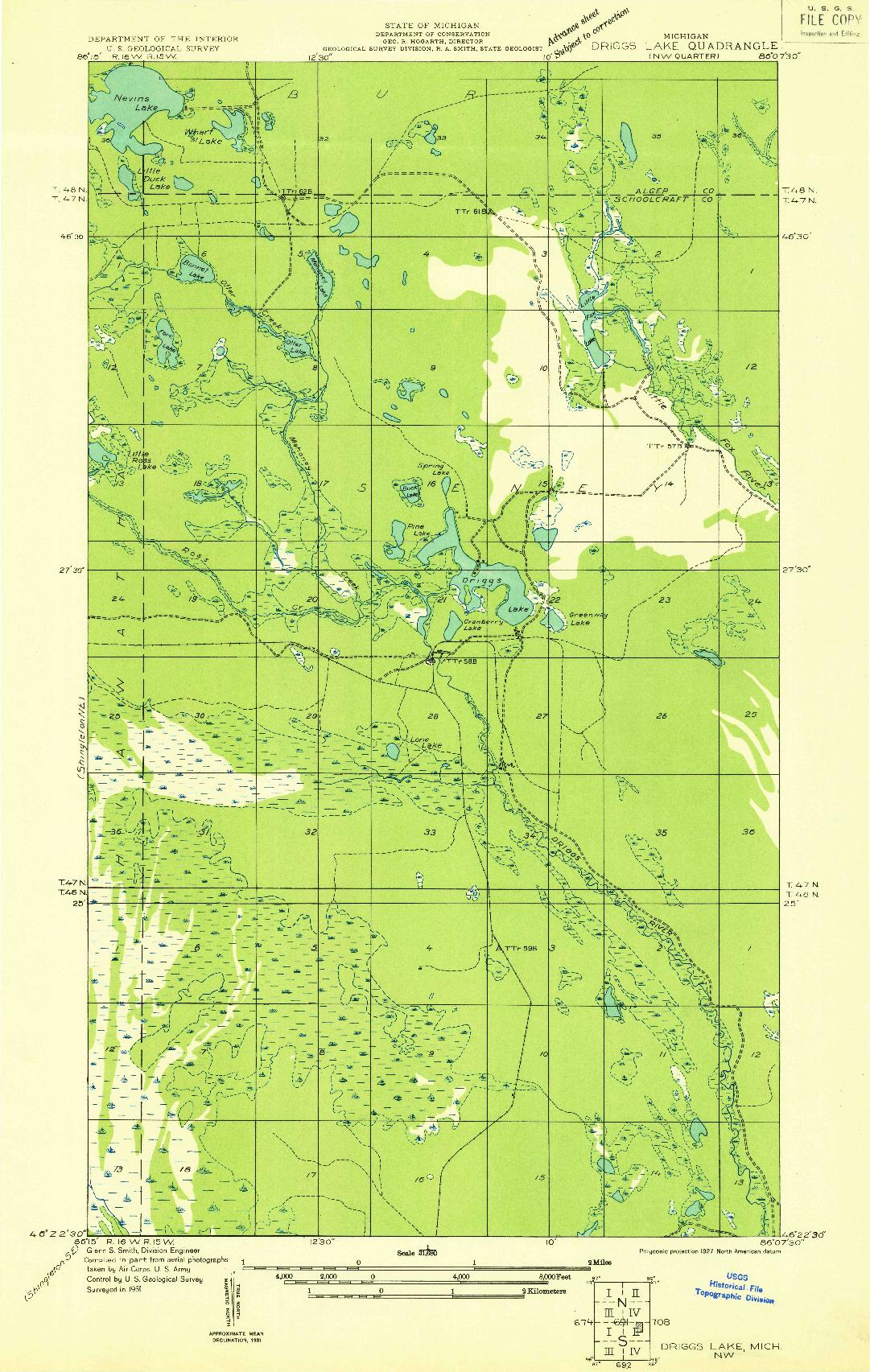 USGS 1:31680-SCALE QUADRANGLE FOR DRIGGS LAKE NW, MI 1931