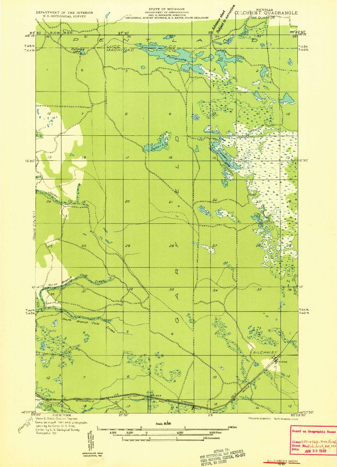 USGS 1:31680-SCALE QUADRANGLE FOR GILCHRIST NW, MI 1931