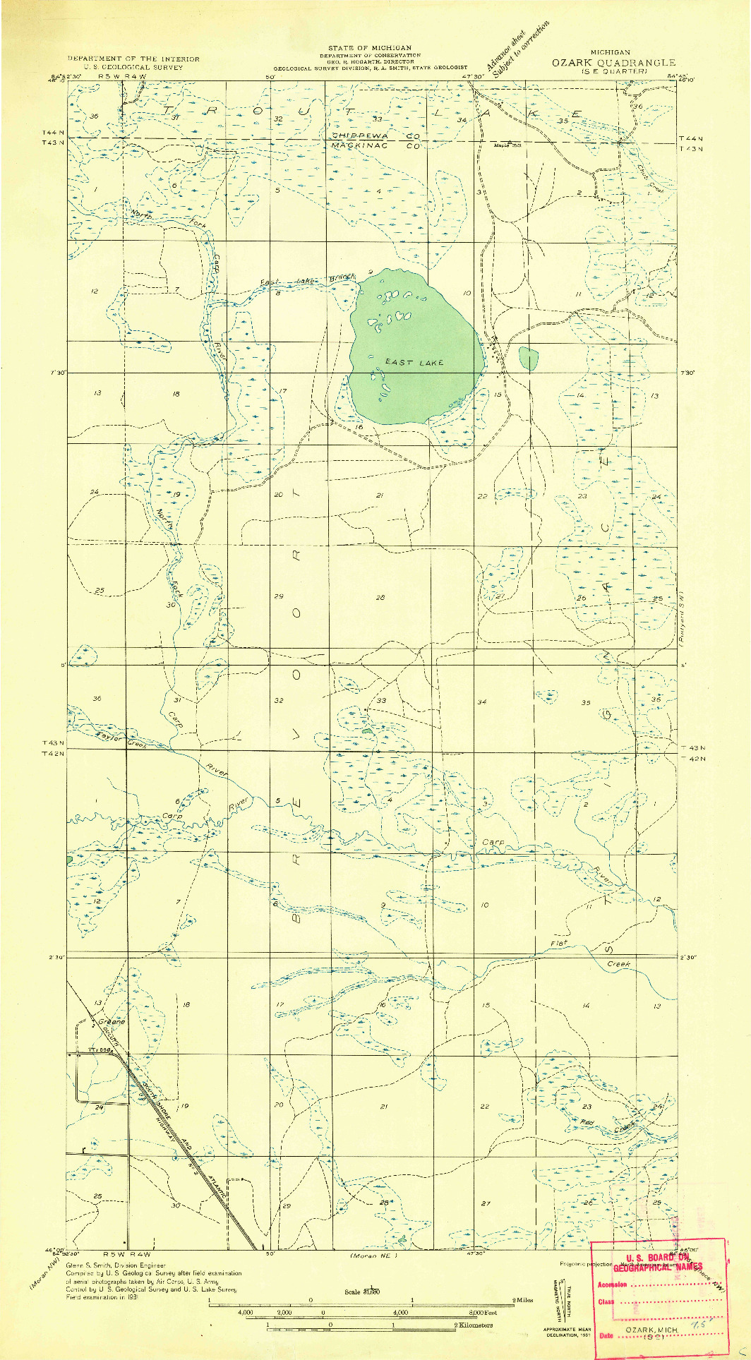 USGS 1:31680-SCALE QUADRANGLE FOR OZARK SE, MI 1931
