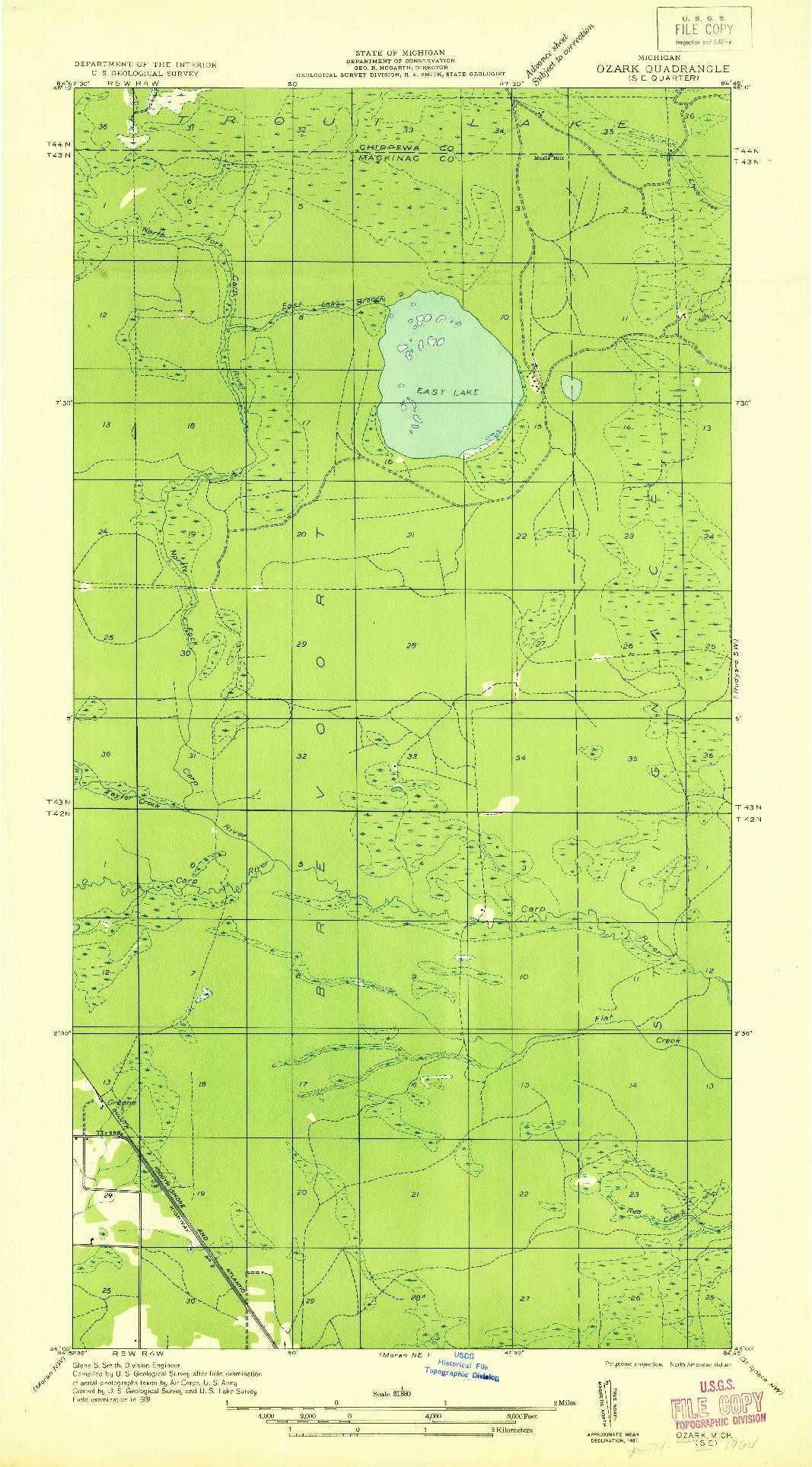 USGS 1:31680-SCALE QUADRANGLE FOR OZARK SE, MI 1931