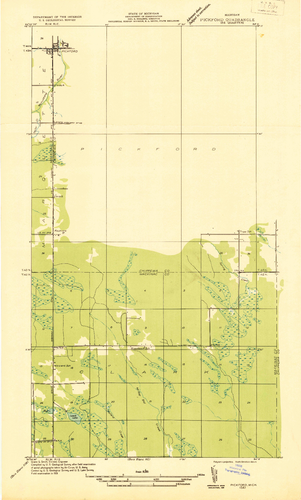 USGS 1:31680-SCALE QUADRANGLE FOR PICKFORD SE, MI 1931