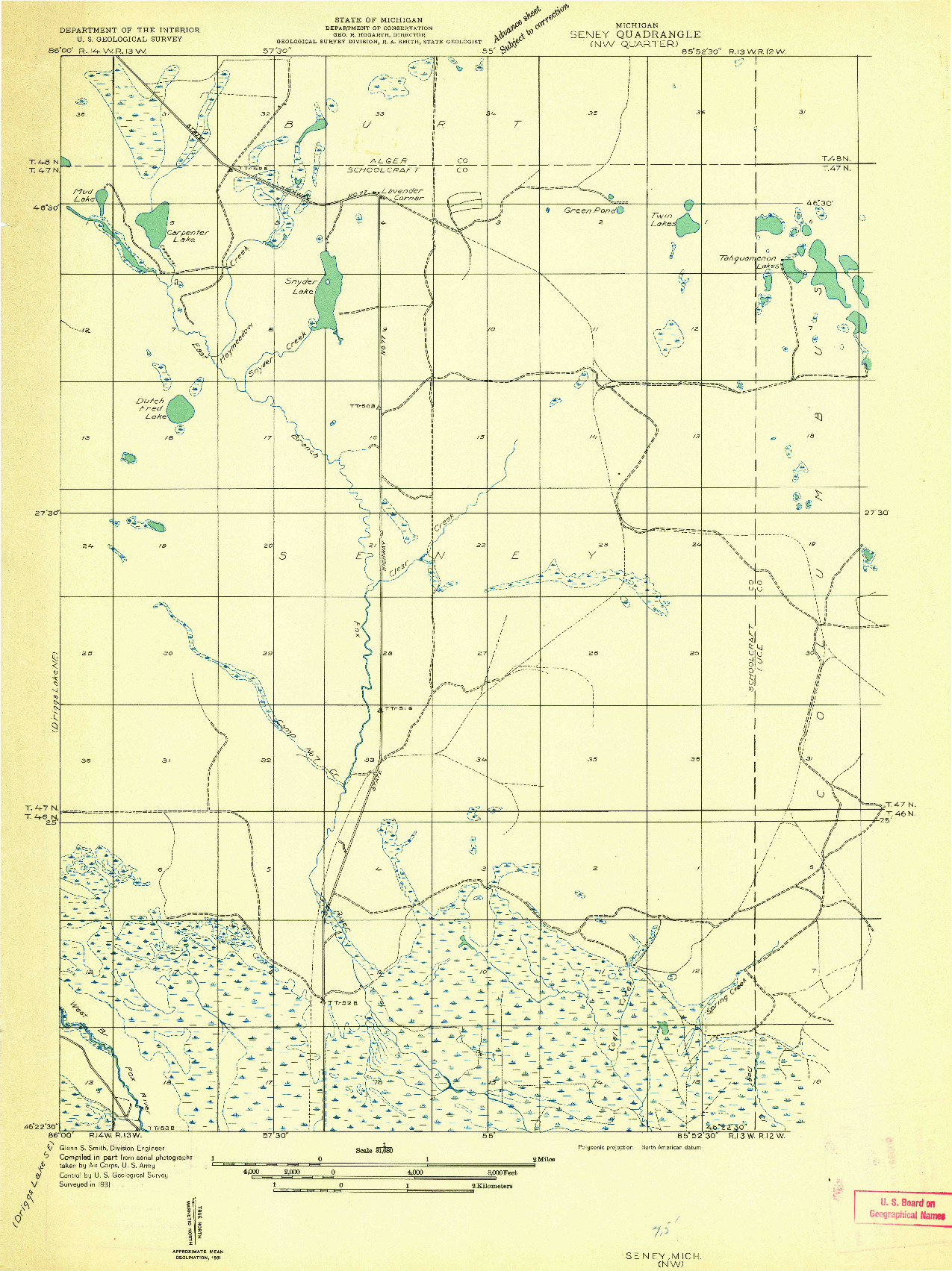 USGS 1:31680-SCALE QUADRANGLE FOR SENEY NW, MI 1931