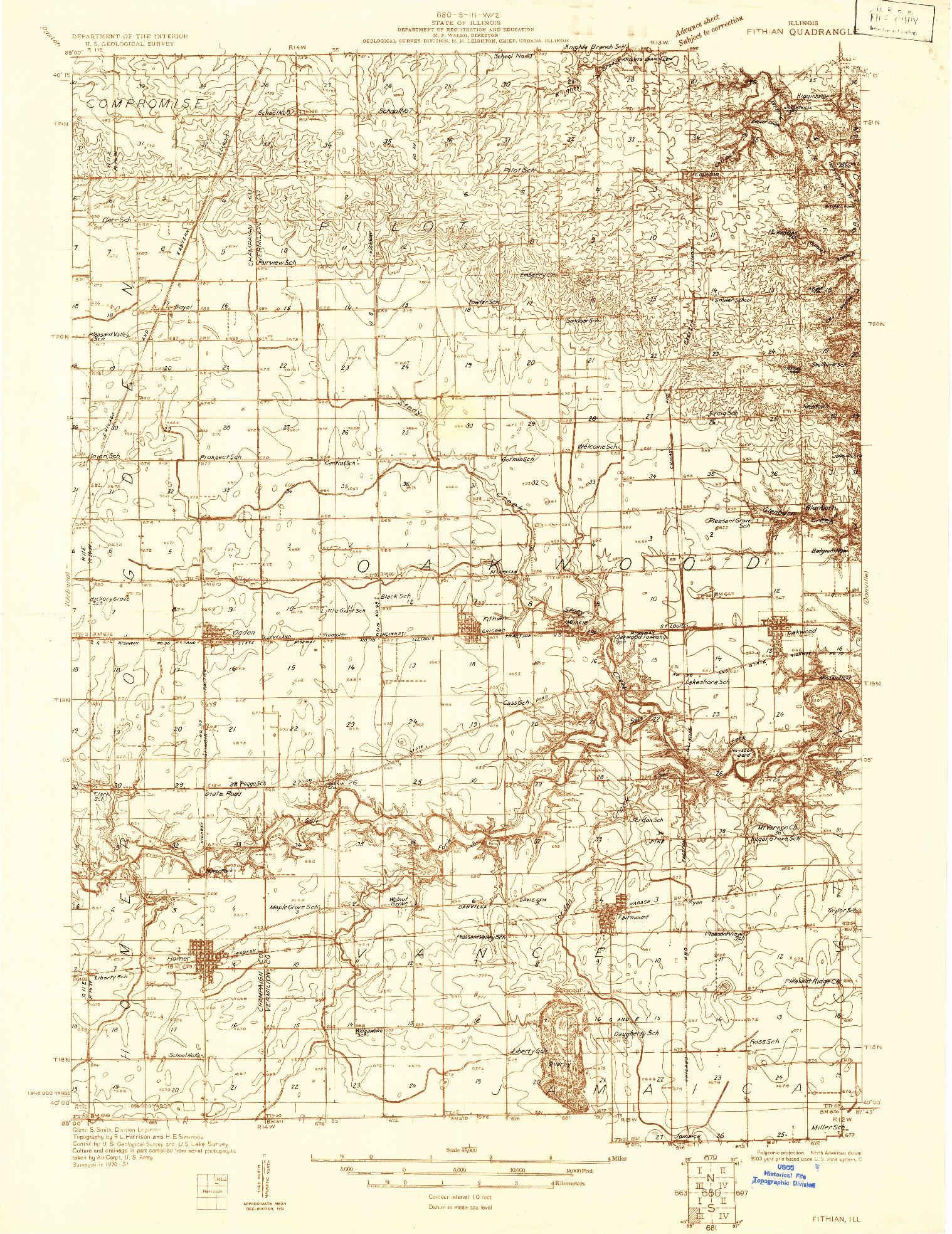 USGS 1:48000-SCALE QUADRANGLE FOR FITHIAN, IL 1931