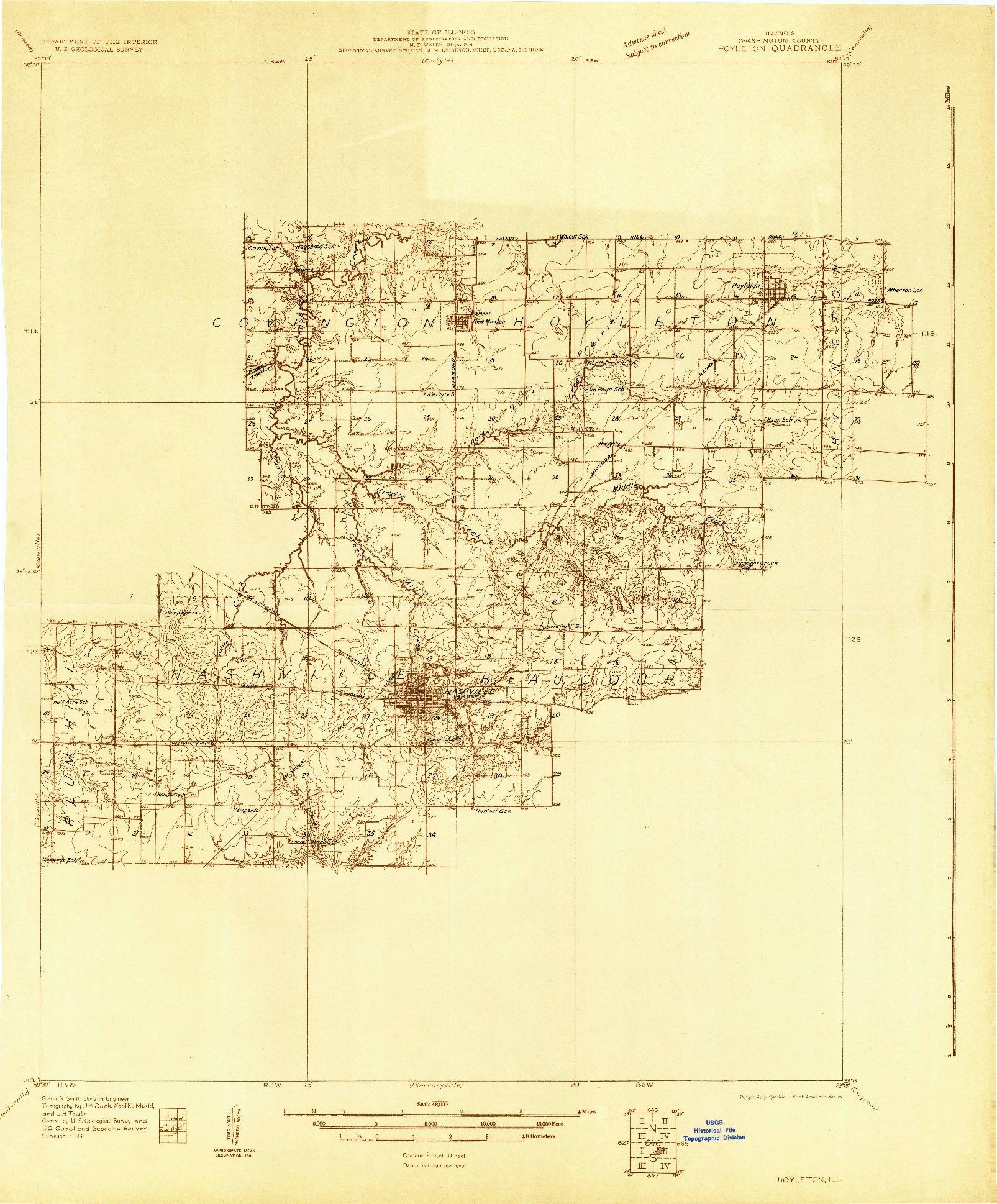 USGS 1:48000-SCALE QUADRANGLE FOR HOYLETON, IL 1931