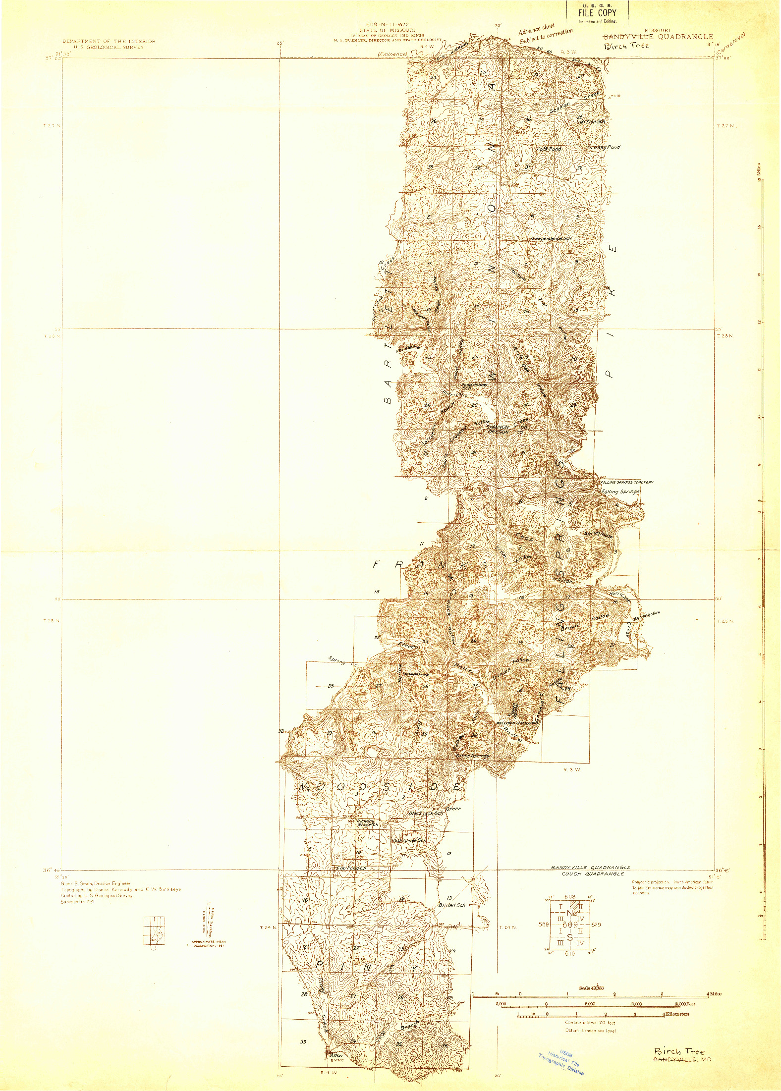USGS 1:48000-SCALE QUADRANGLE FOR BANDYVILLE, MO 1931