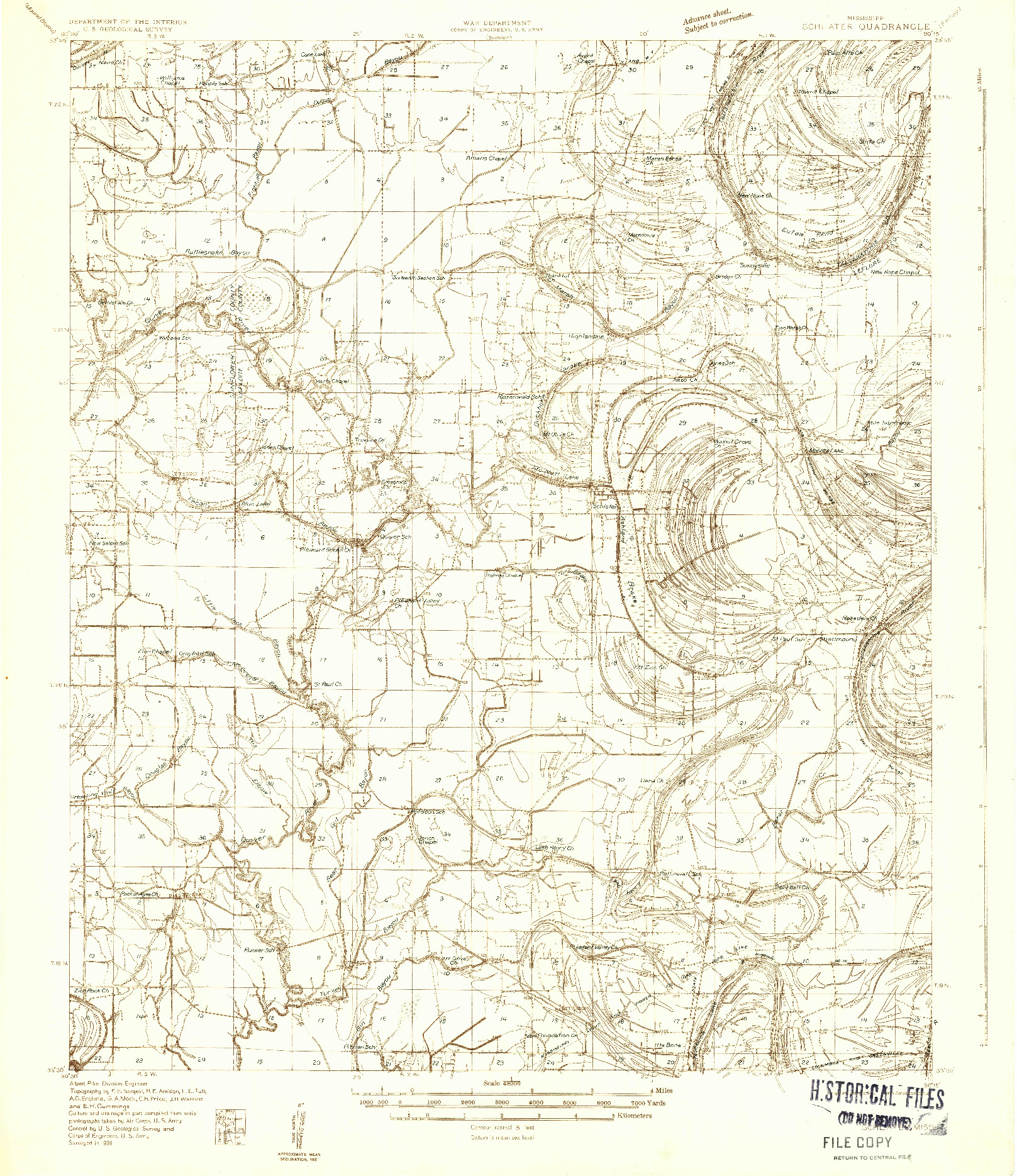 USGS 1:48000-SCALE QUADRANGLE FOR SCHLATER, MS 1931