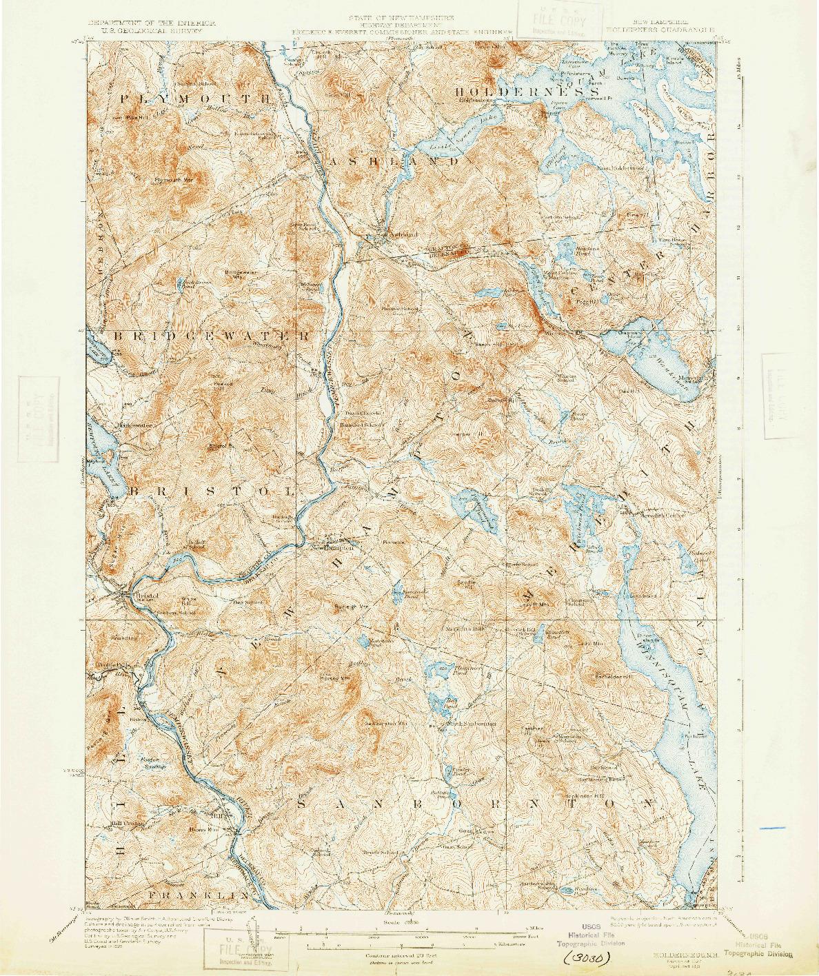 USGS 1:62500-SCALE QUADRANGLE FOR HOLDERNESS, NH 1927