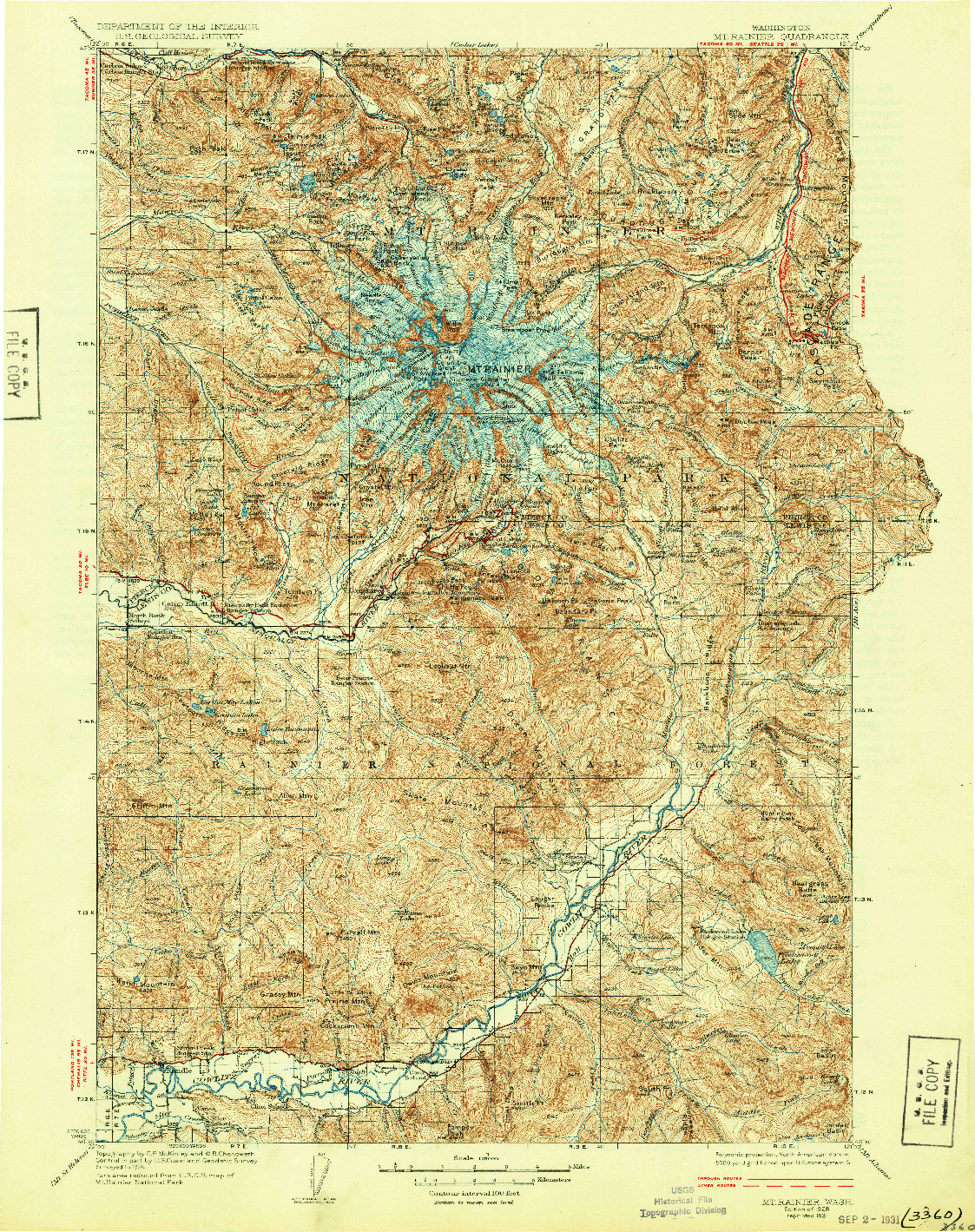 USGS 1:125000-SCALE QUADRANGLE FOR MT RAINIER, WA 1928