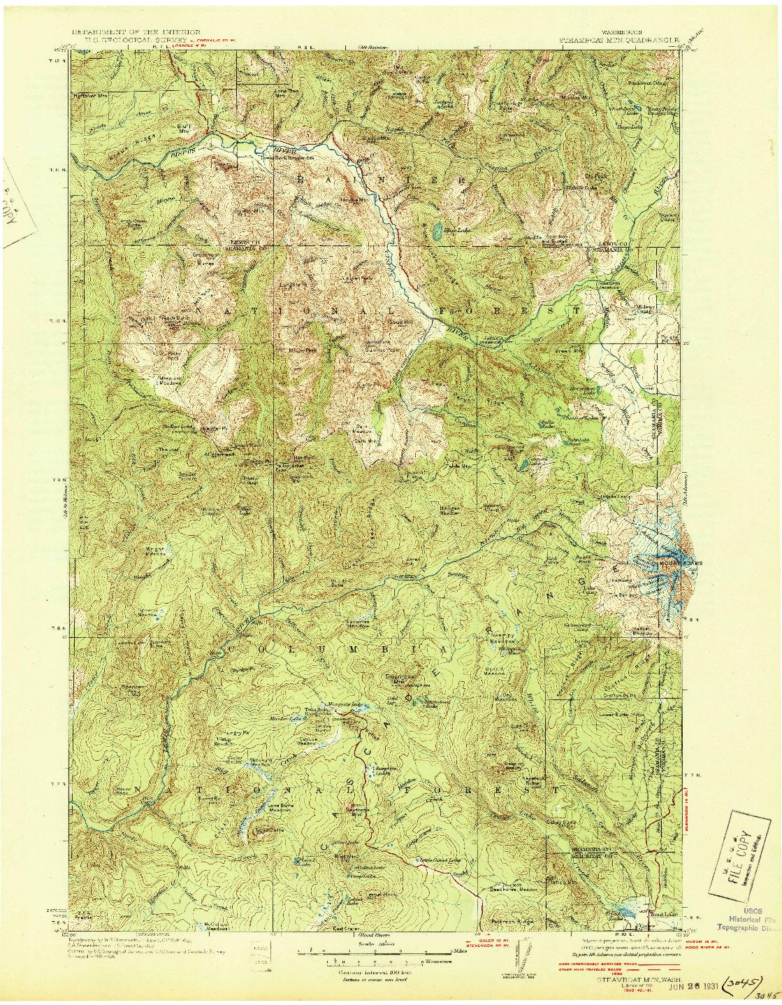 USGS 1:125000-SCALE QUADRANGLE FOR STEAMBOAT MTN, WA 1931