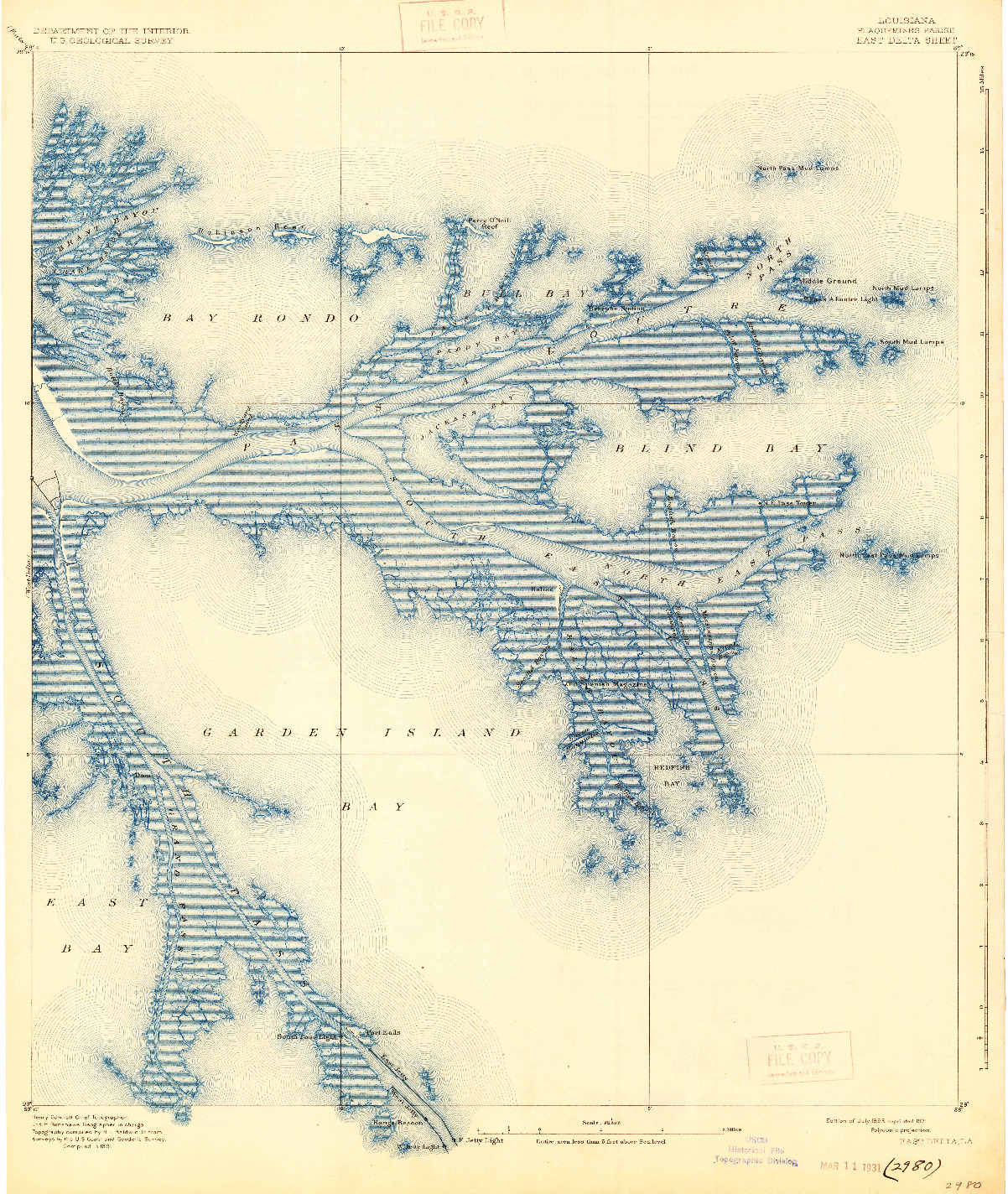 USGS 1:62500-SCALE QUADRANGLE FOR EAST DELTA, LA 1893