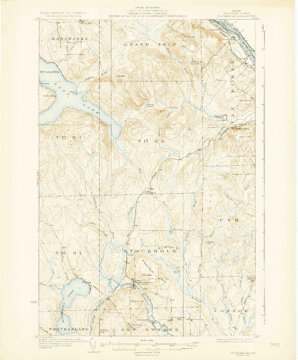 USGS 1:62500-SCALE QUADRANGLE FOR STOCKHOLM, ME 1931